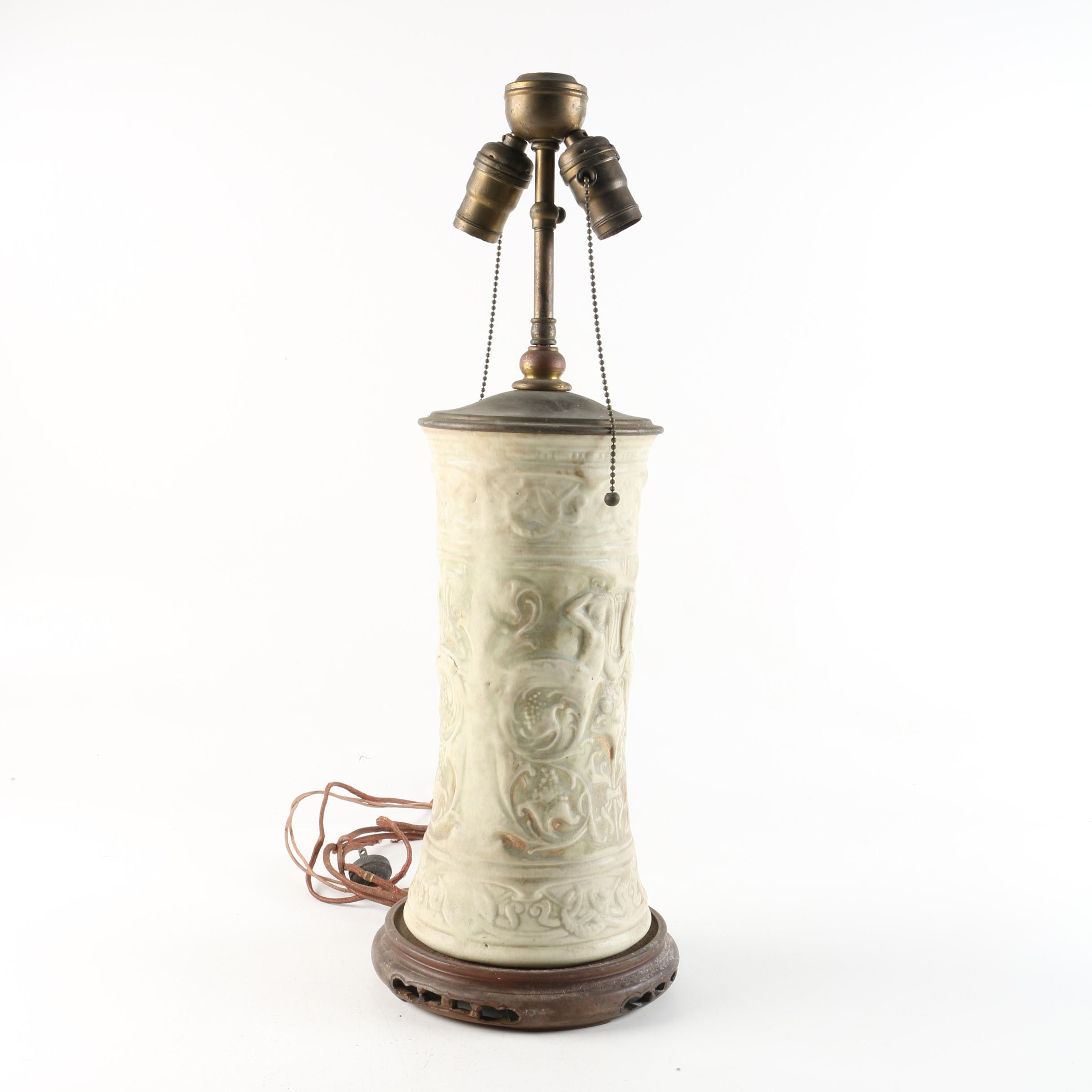 Art Nouveau Style Embossed Ceramic Table Lamp with Wooden Base