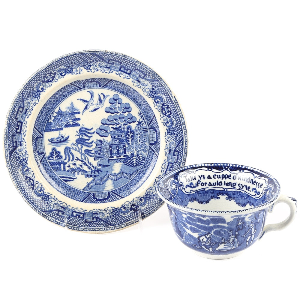 Antique English Blue and White Staffordshire Tableware
