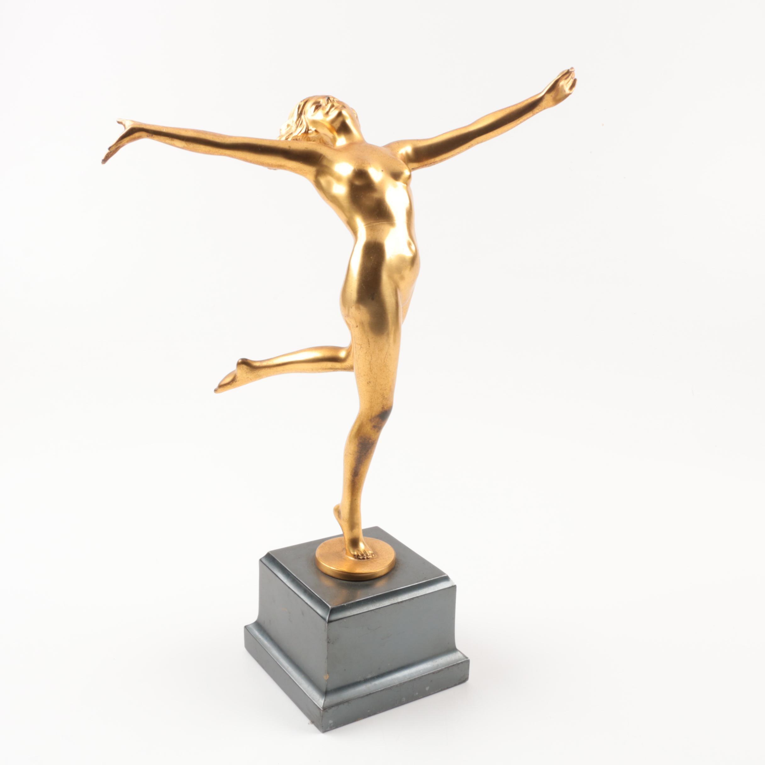 Jennings Brothers Art Deco Gilt Brass Sculpture