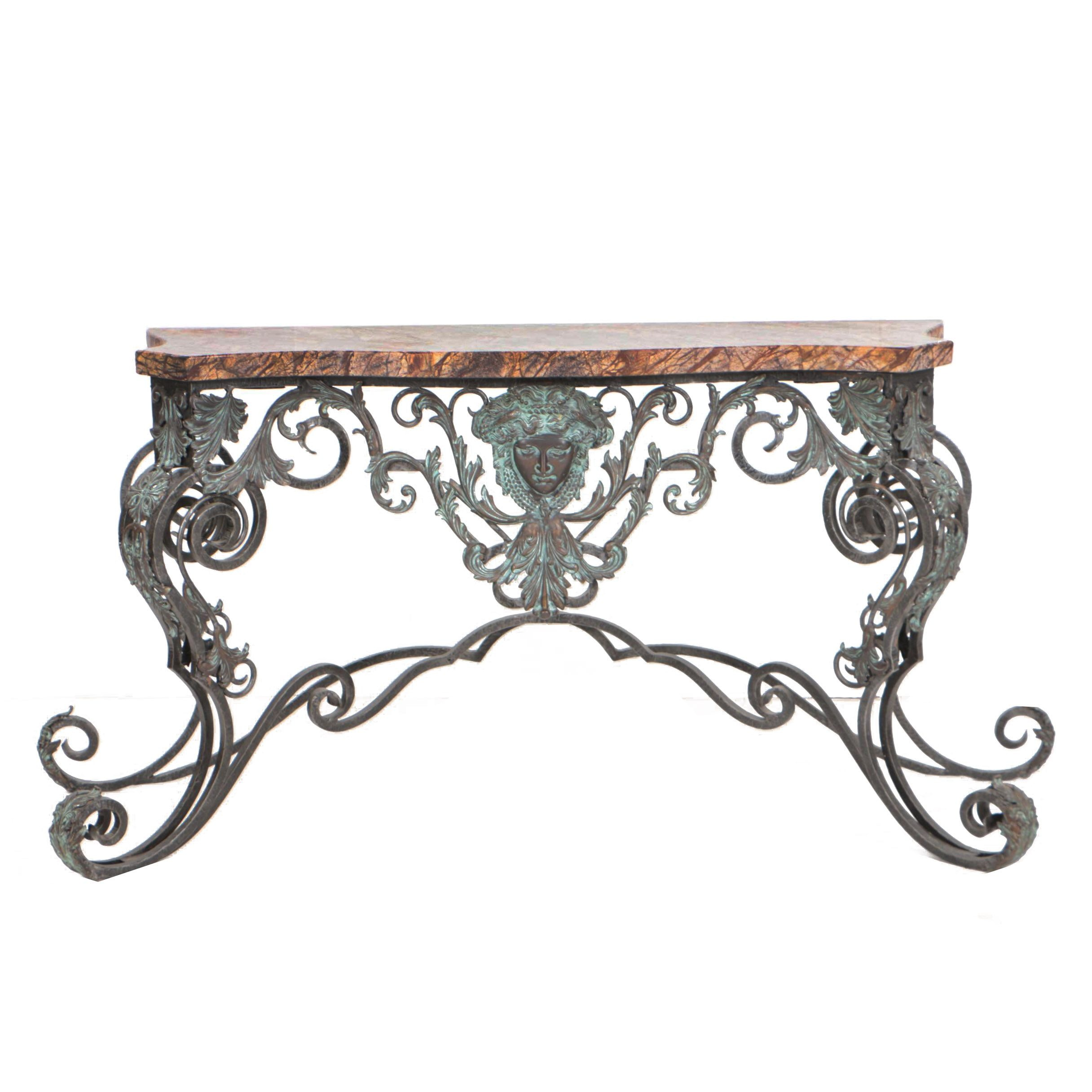 Wrought and Cast Iron Console Table with Marble Top, Possibly by Maitland-Smith