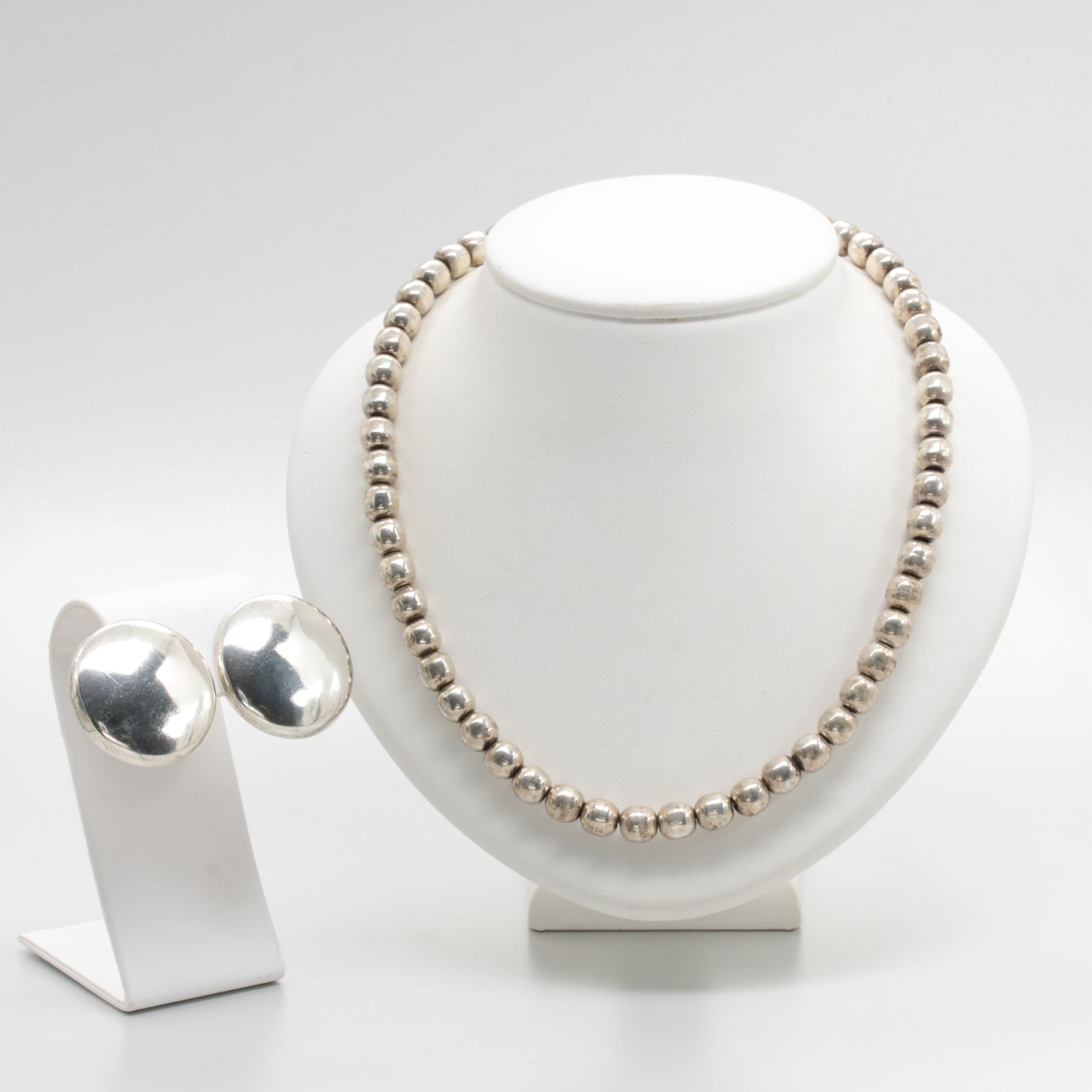 Mexican Sterling Silver Beaded Sphere Necklace and Earrings