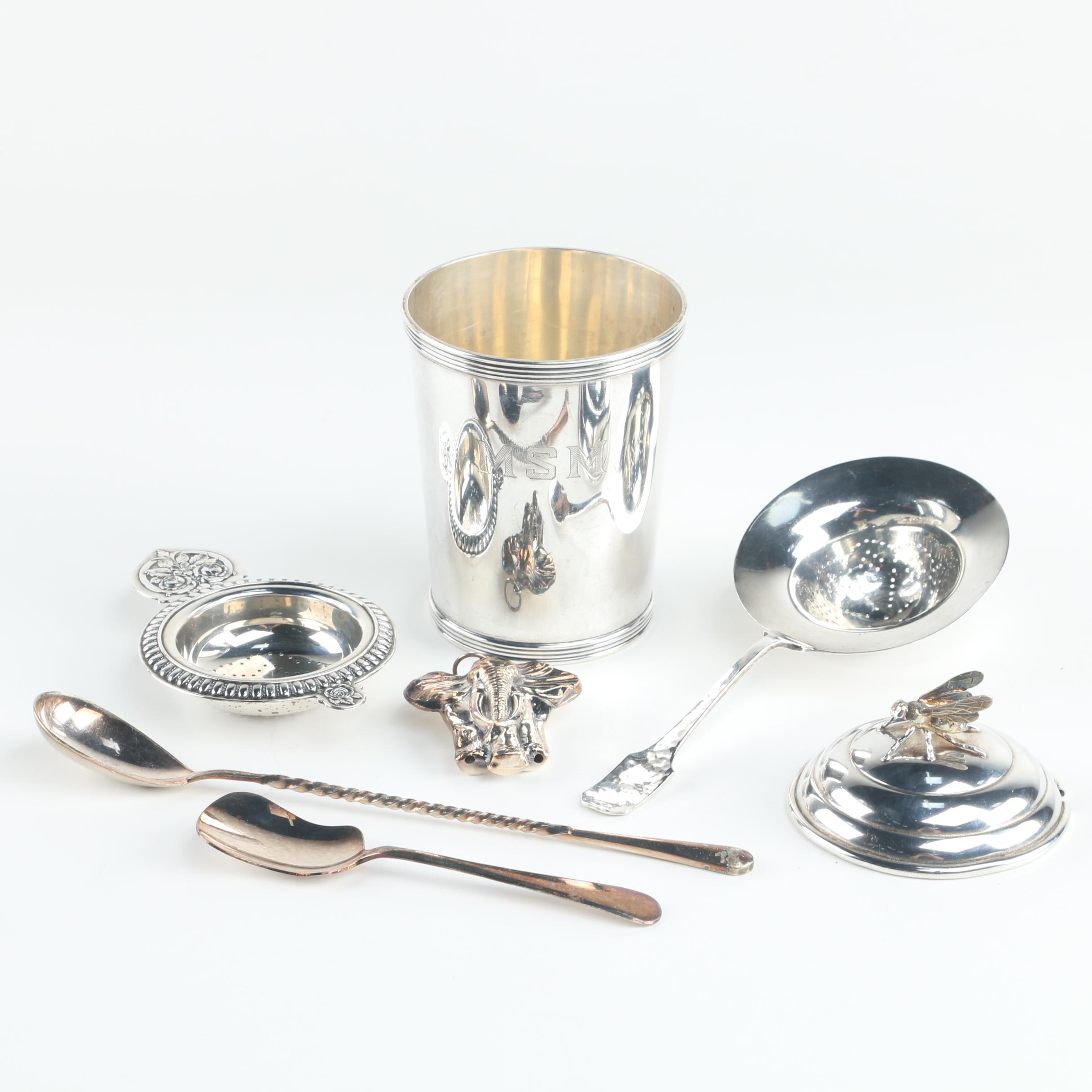 Frank W. Smith Sterling Julep Cup with Other Sterling and Plate Pieces