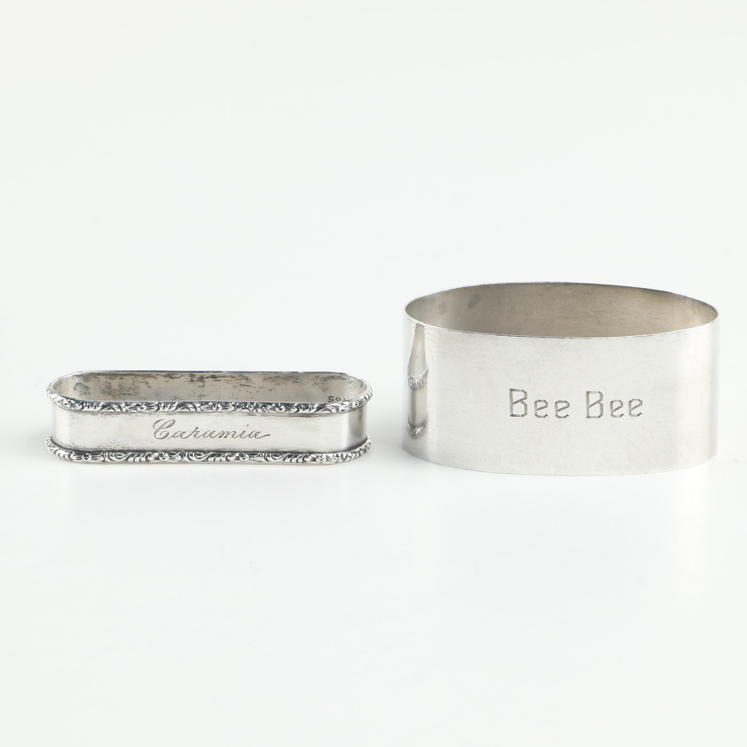 Shreve & Co. and Rogers, Lunt & Bowlen Co. Sterling Silver Napkin Rings