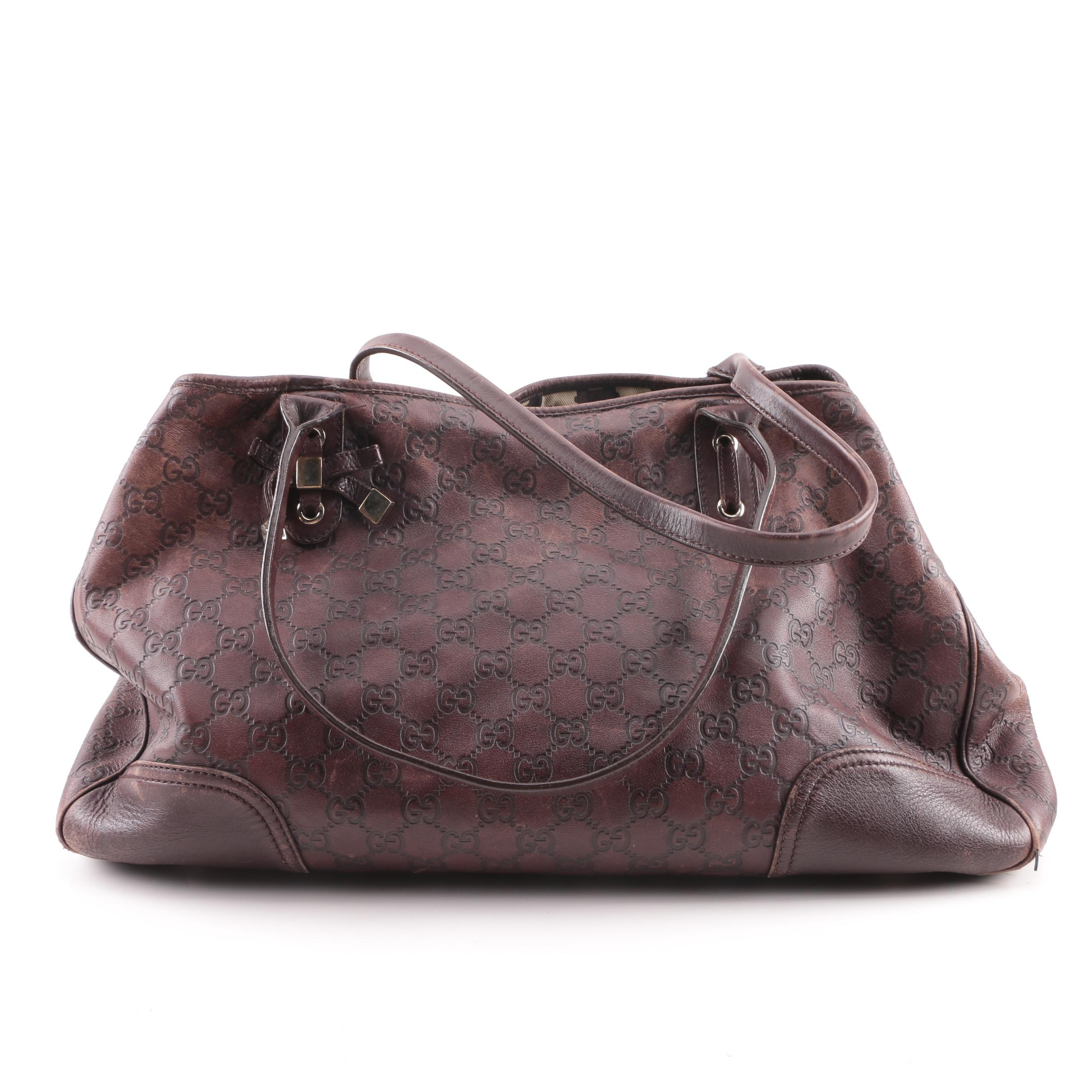 Gucci Princy Brown Guccissima Monogram Leather Tote Bag