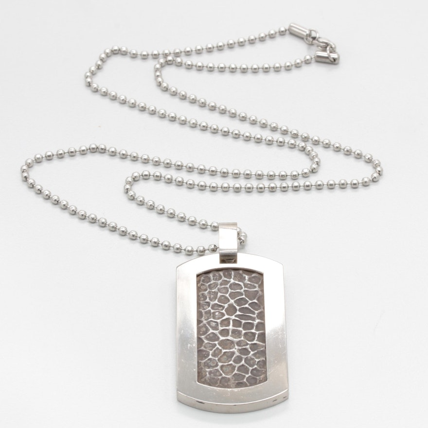 REVV Sterling Silver and Titanium Dog Tag with Steel Necklace