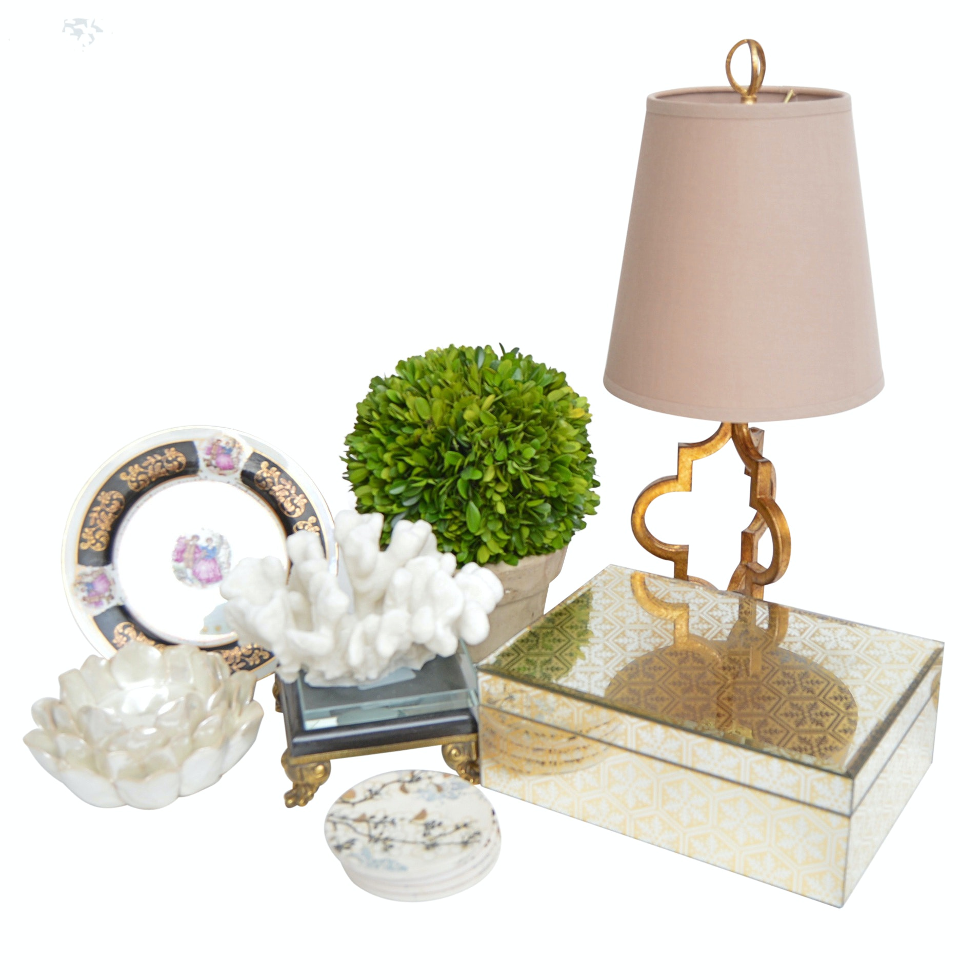 Decor with Neoclassic Style Lamp, Mirrored Trinket Box