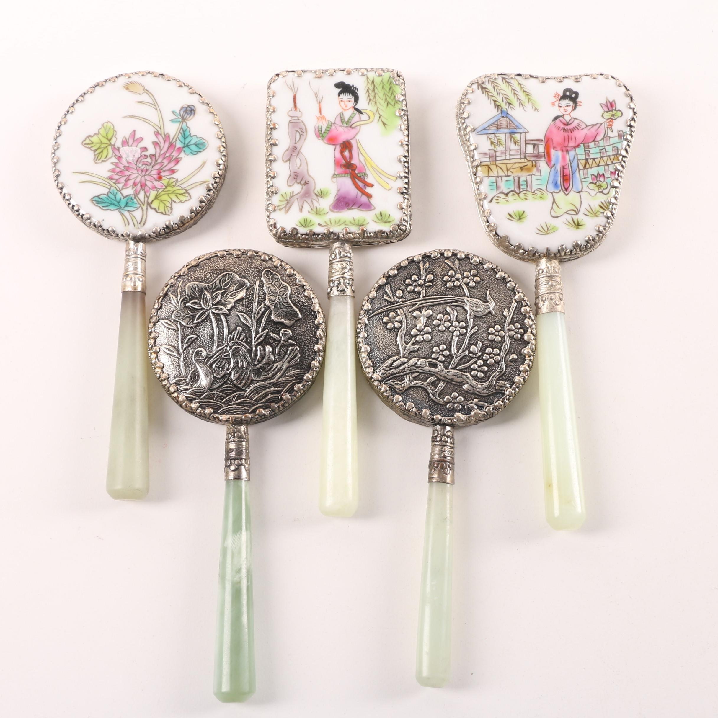 Chinese Hand-Painted and Embossed Mirrors with Bowenite Handles