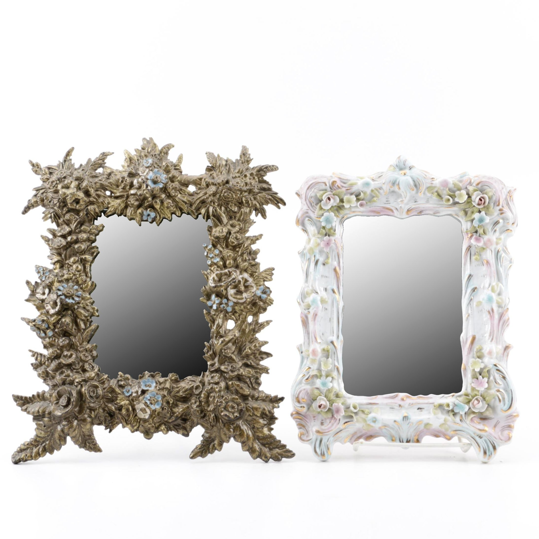 Antique Brass Table Mirror and Vintage Porcelain Wall Mirror