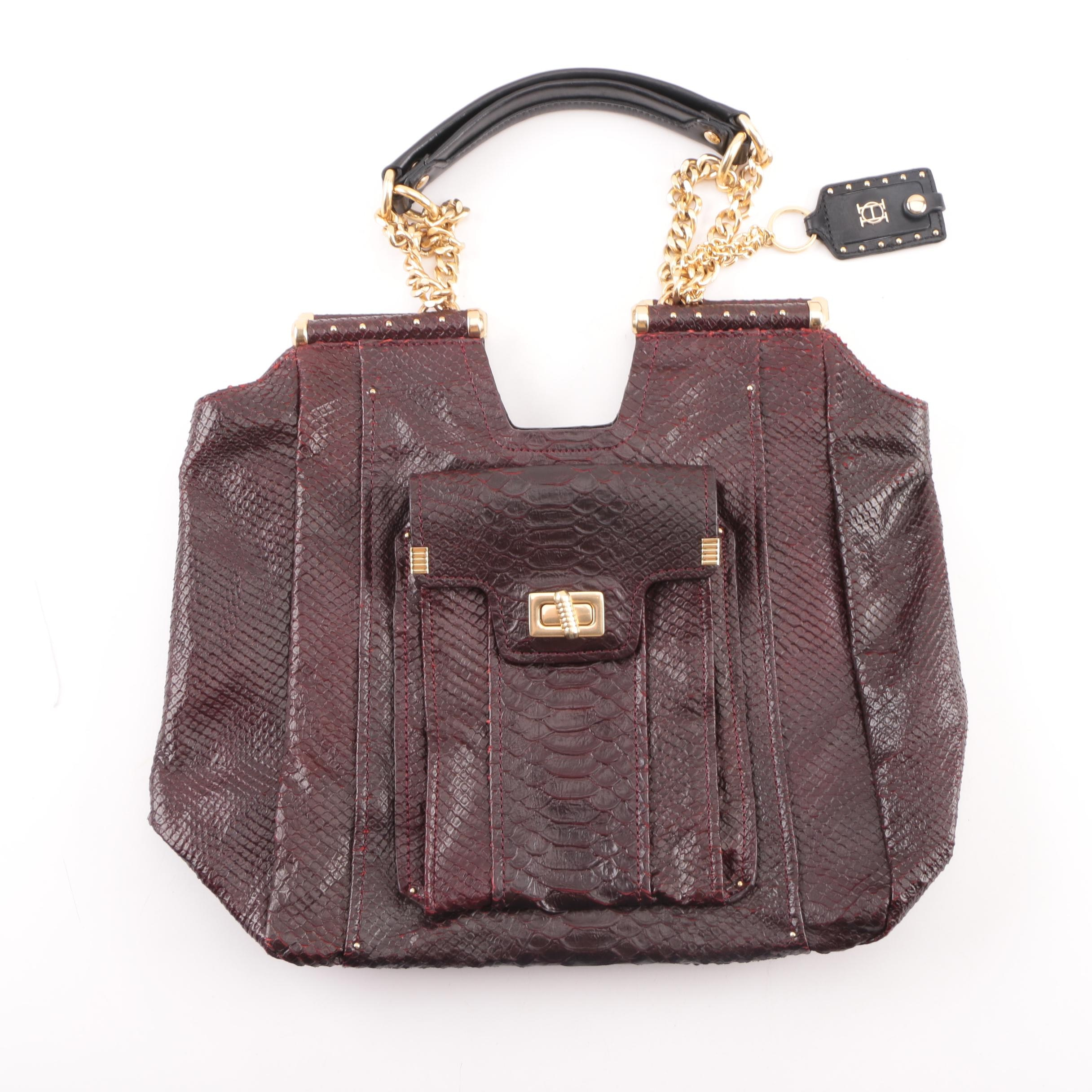 Olivia Harris Burgundy Snakeskin Top Handle Bag