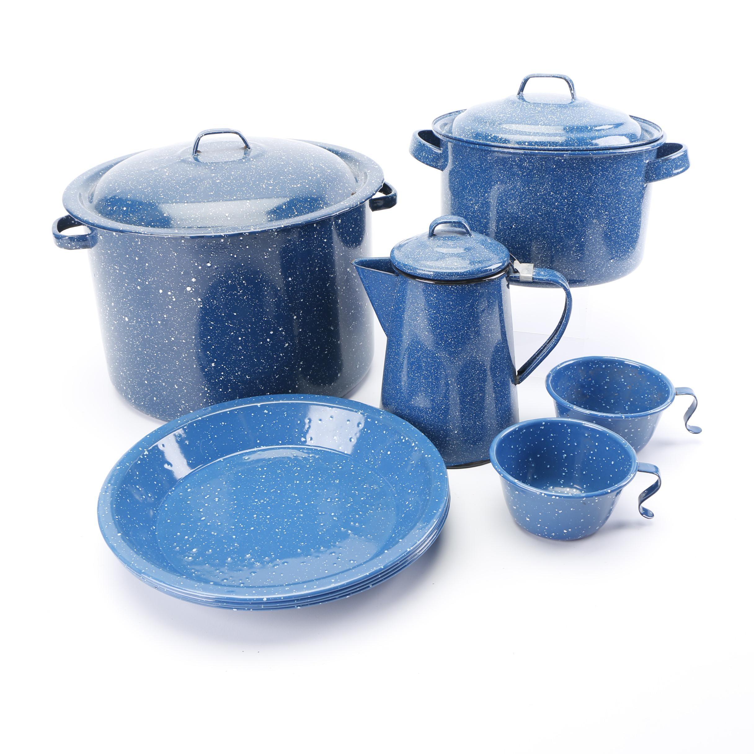 Blue Speckled Enameled Cookware
