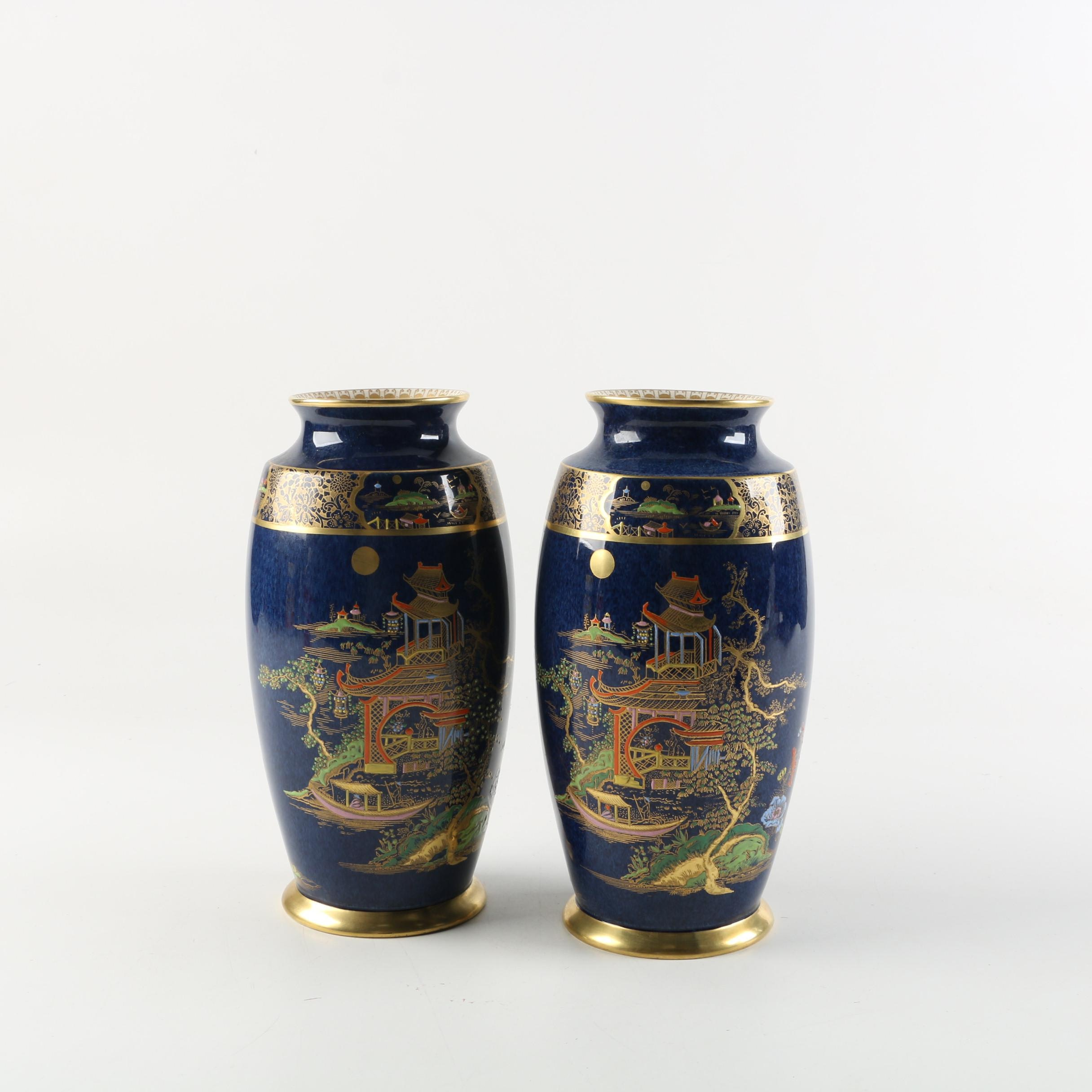 Chinoiserie Carlton Ware Ceramic Vases