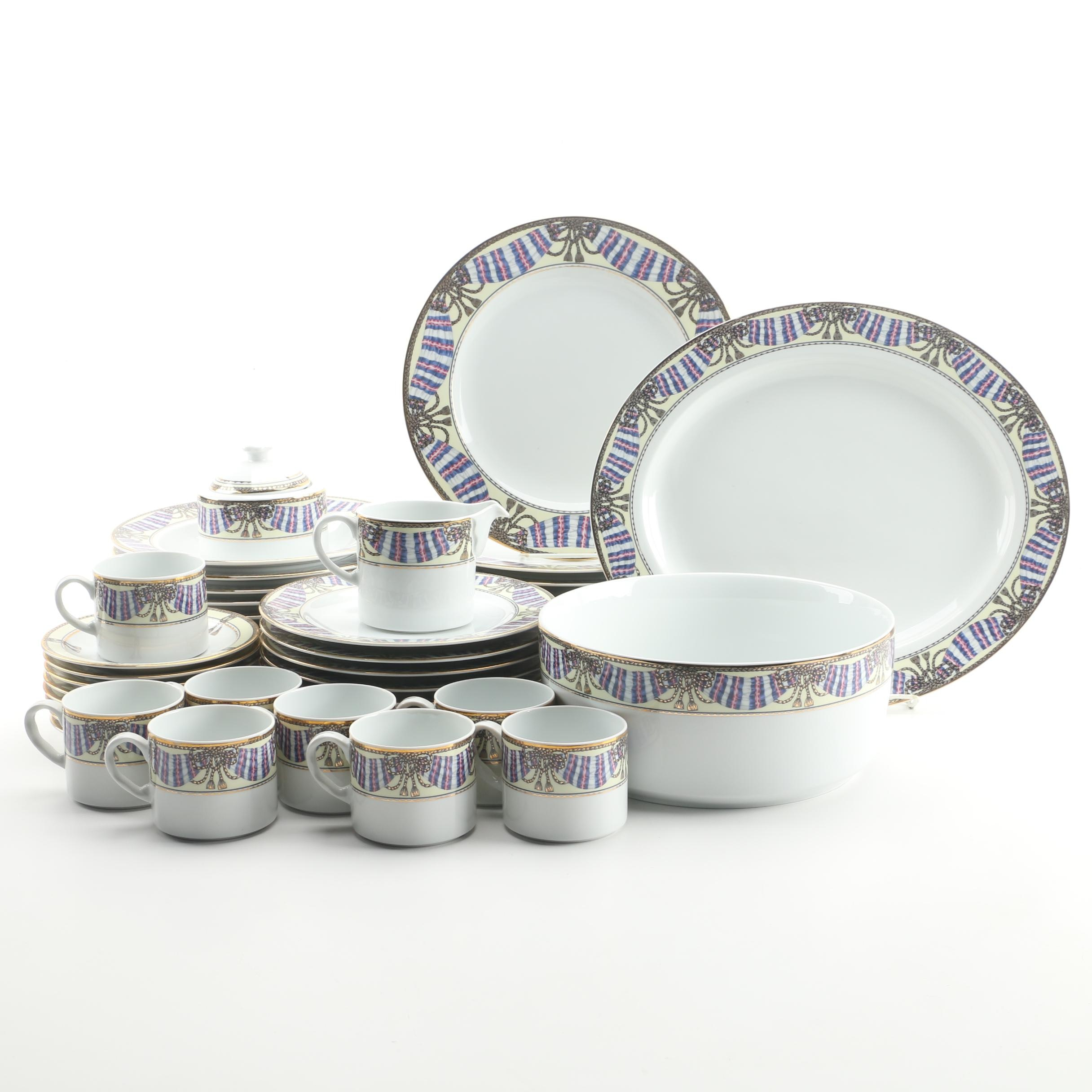 "Philip Kingsley ""Promenade"" Porcelain Dinnerware, Service for Eight"
