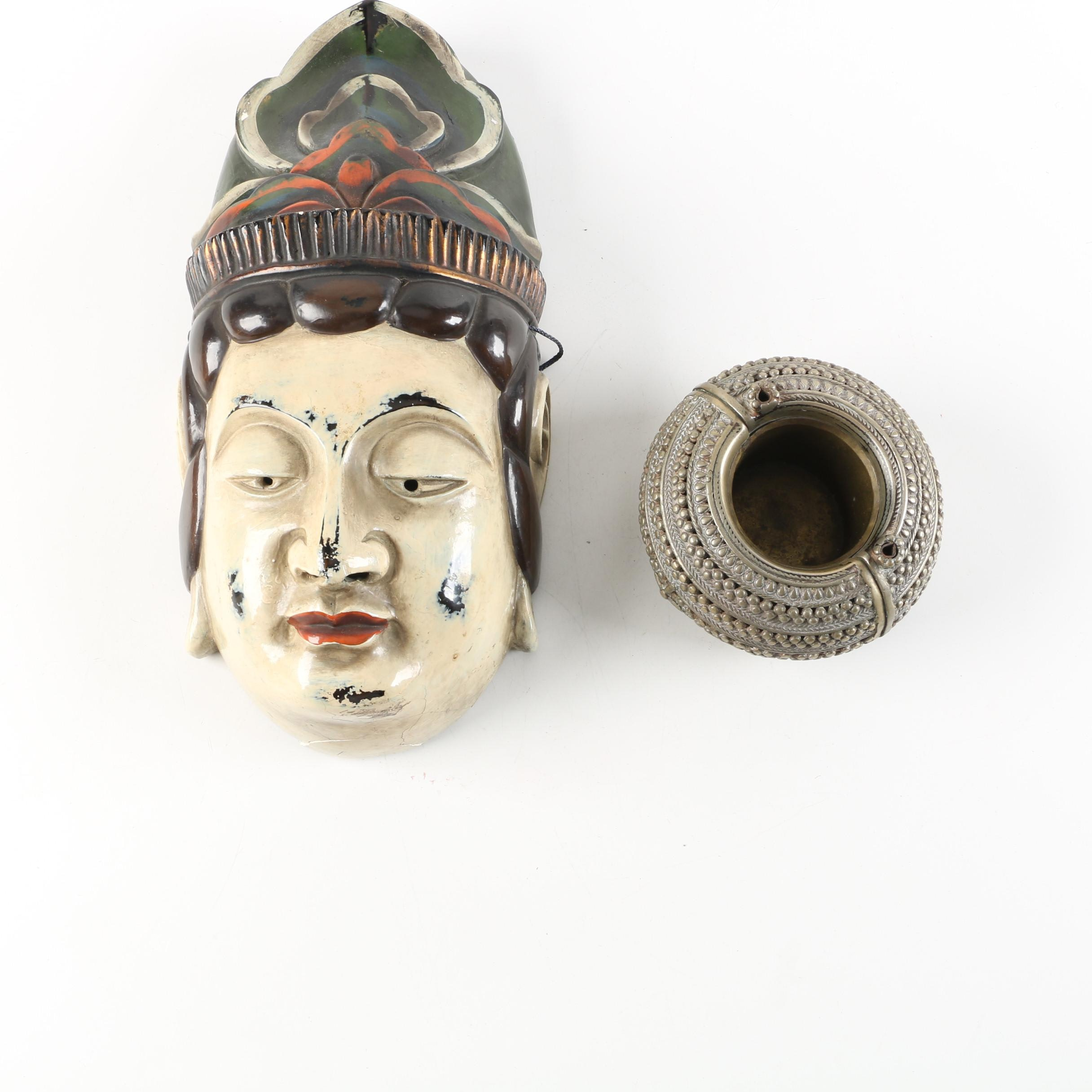 Japanese Papier-mâché Mask and Votive Holder