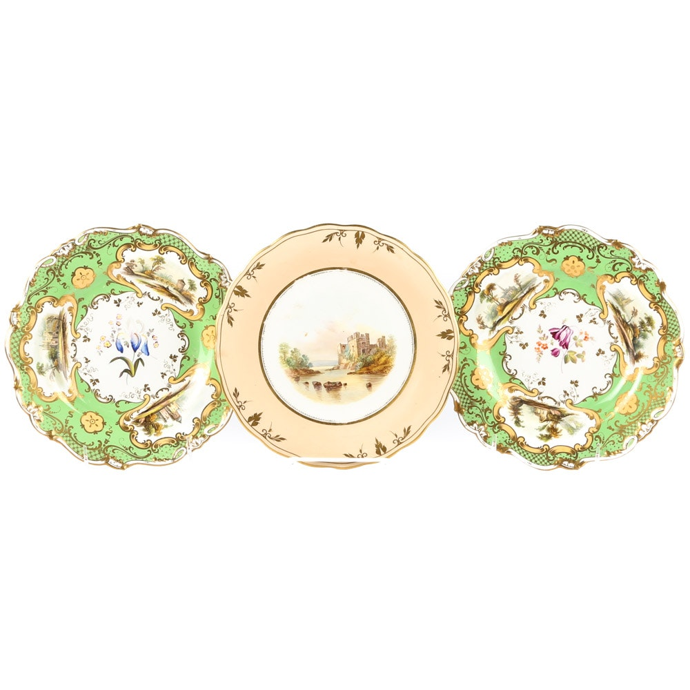 Early to Mid 19th Century English Scenic Porcelain Plates