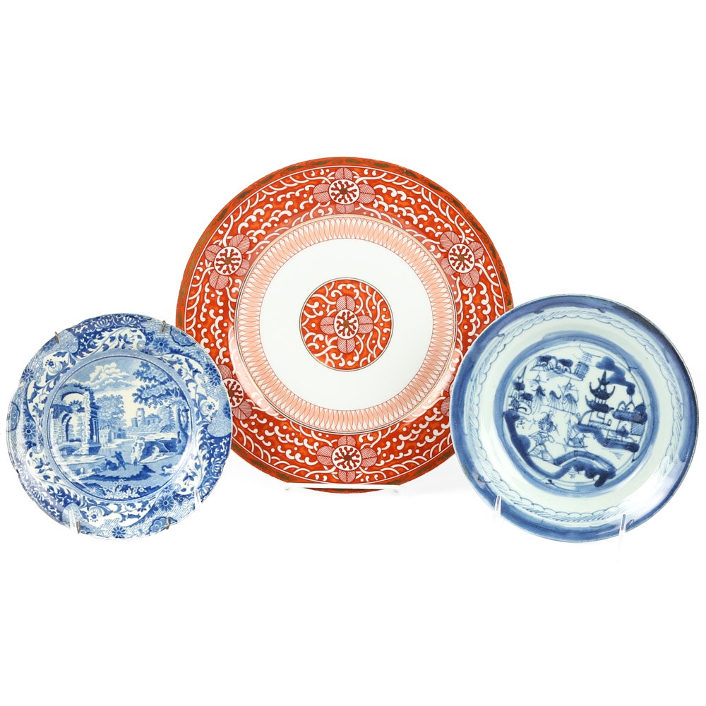Decorative Plates Including Chinese Export, Spode and George Briard