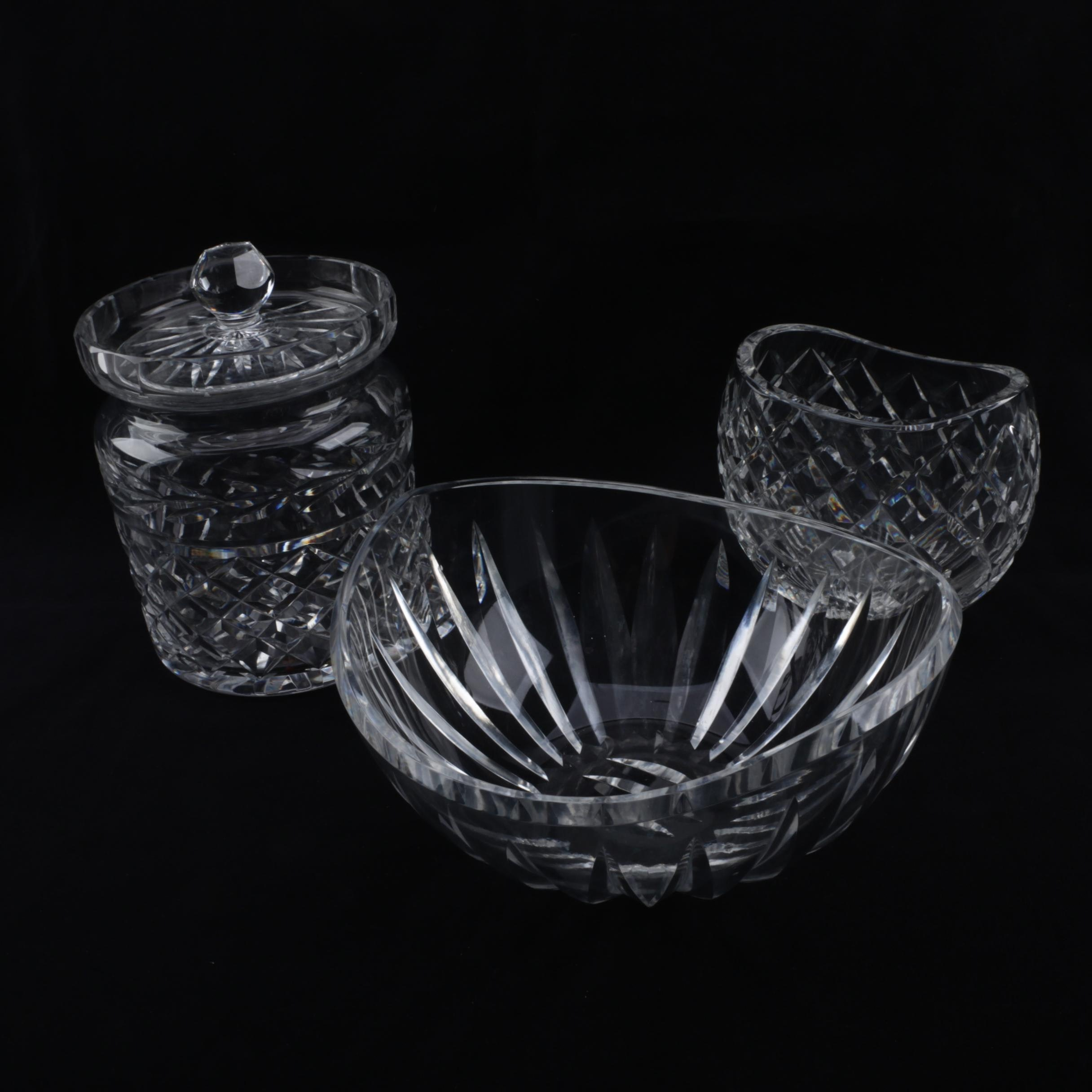 "Waterford Crystal ""Glandore"" Biscuit Barrel with Bowl and Vase"