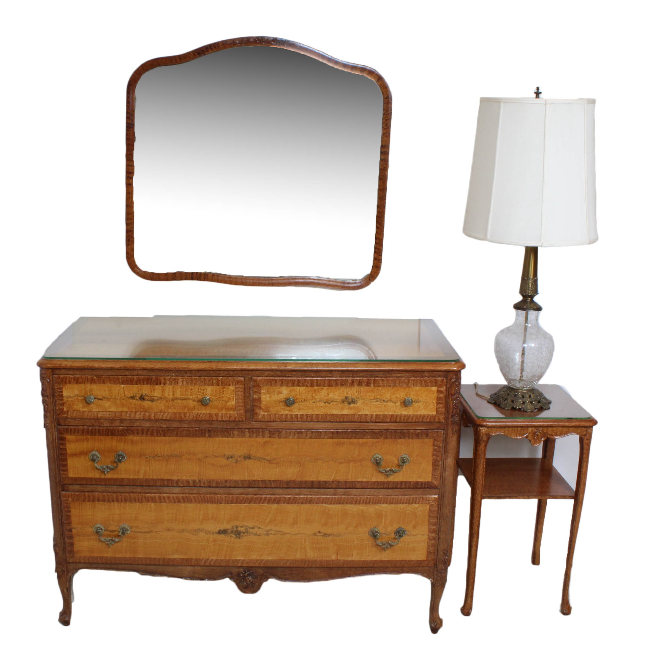 Antique Grain Painted Dresser, Mirror and Side Table