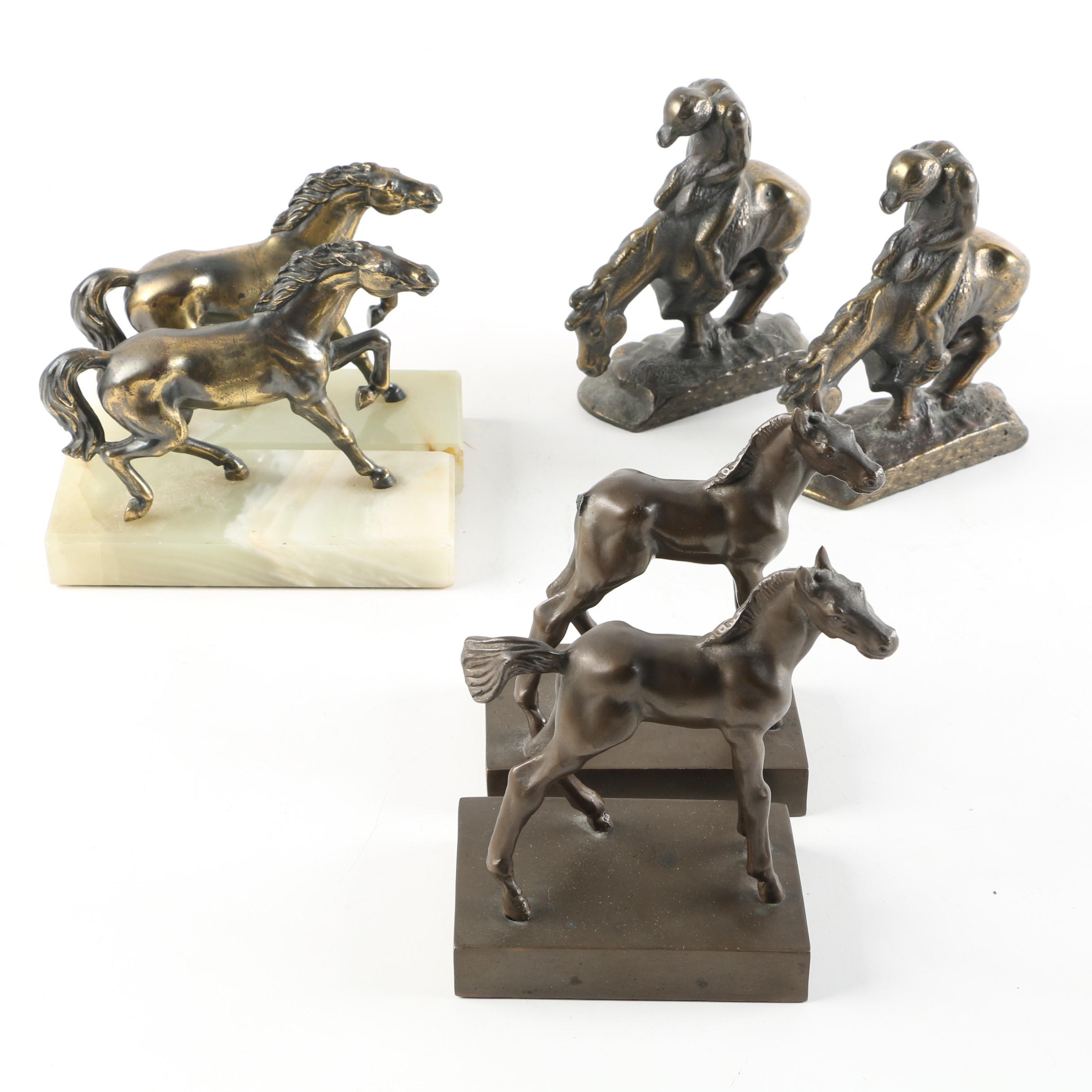 Horse-Themed Metal and Calcite Bookends