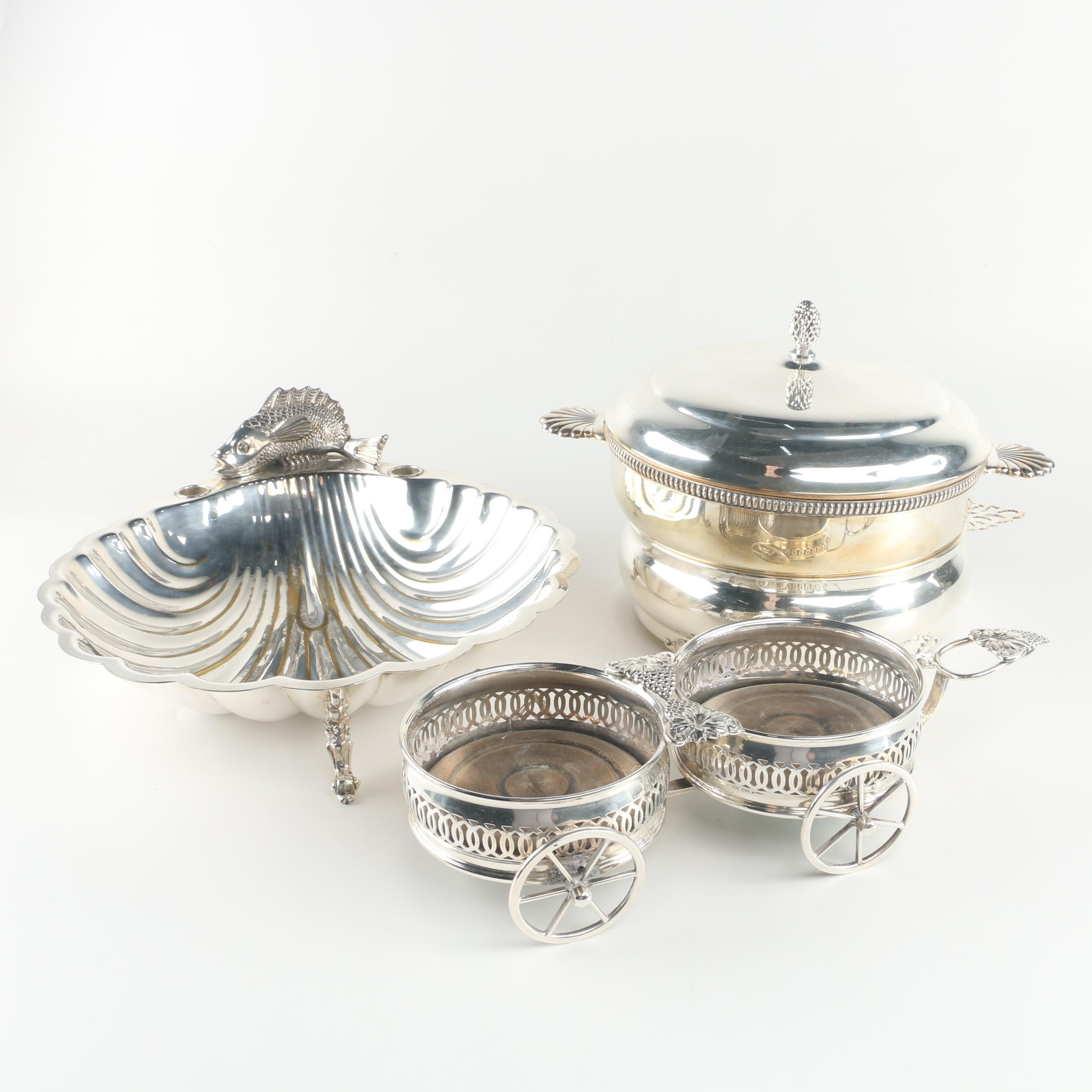 Sheridan Silver Co. Scallop Shell Dish with Other Silver Plate Serveware