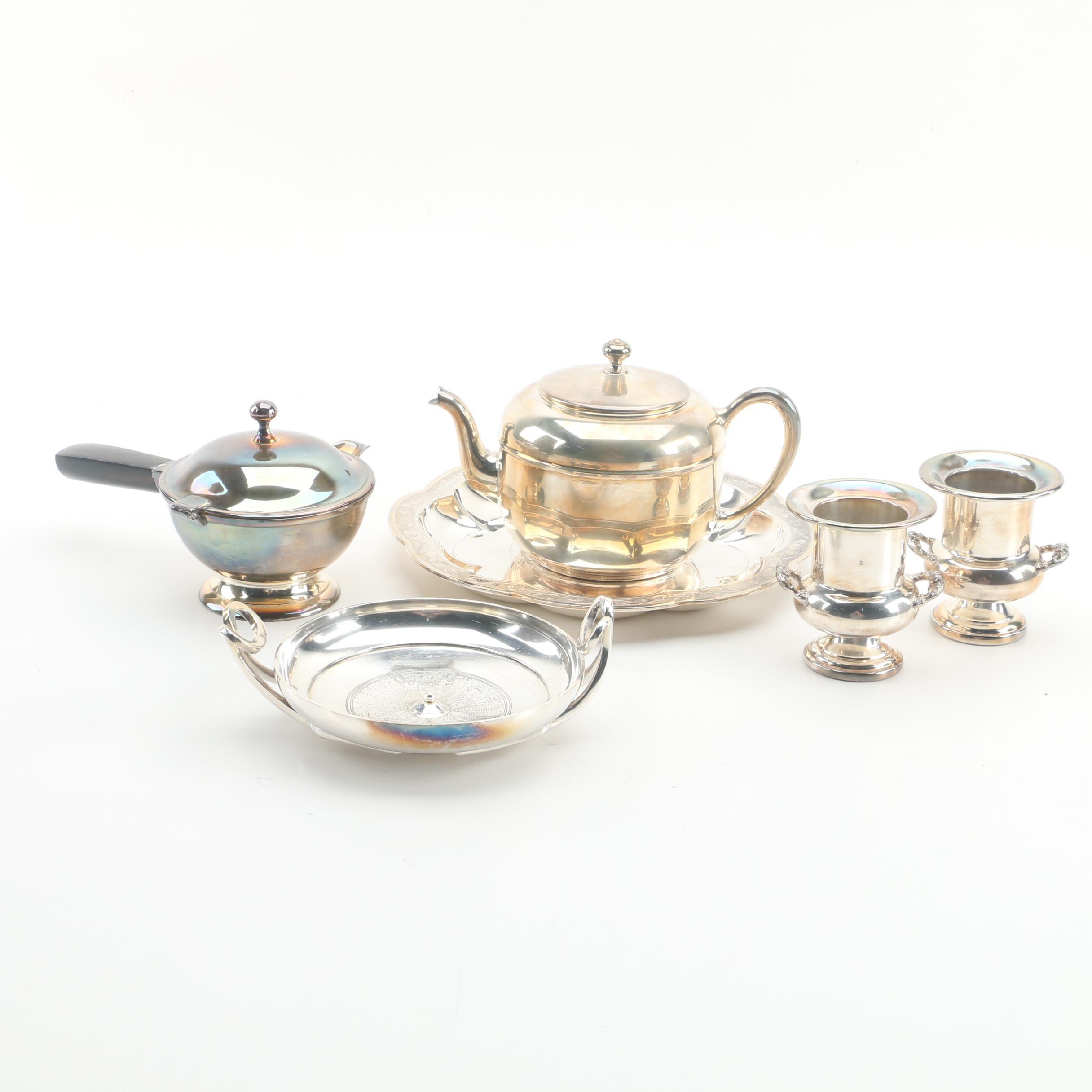 "Gorham ""Greek Kylix"" Bowl with Other Silver Plate Serveware"
