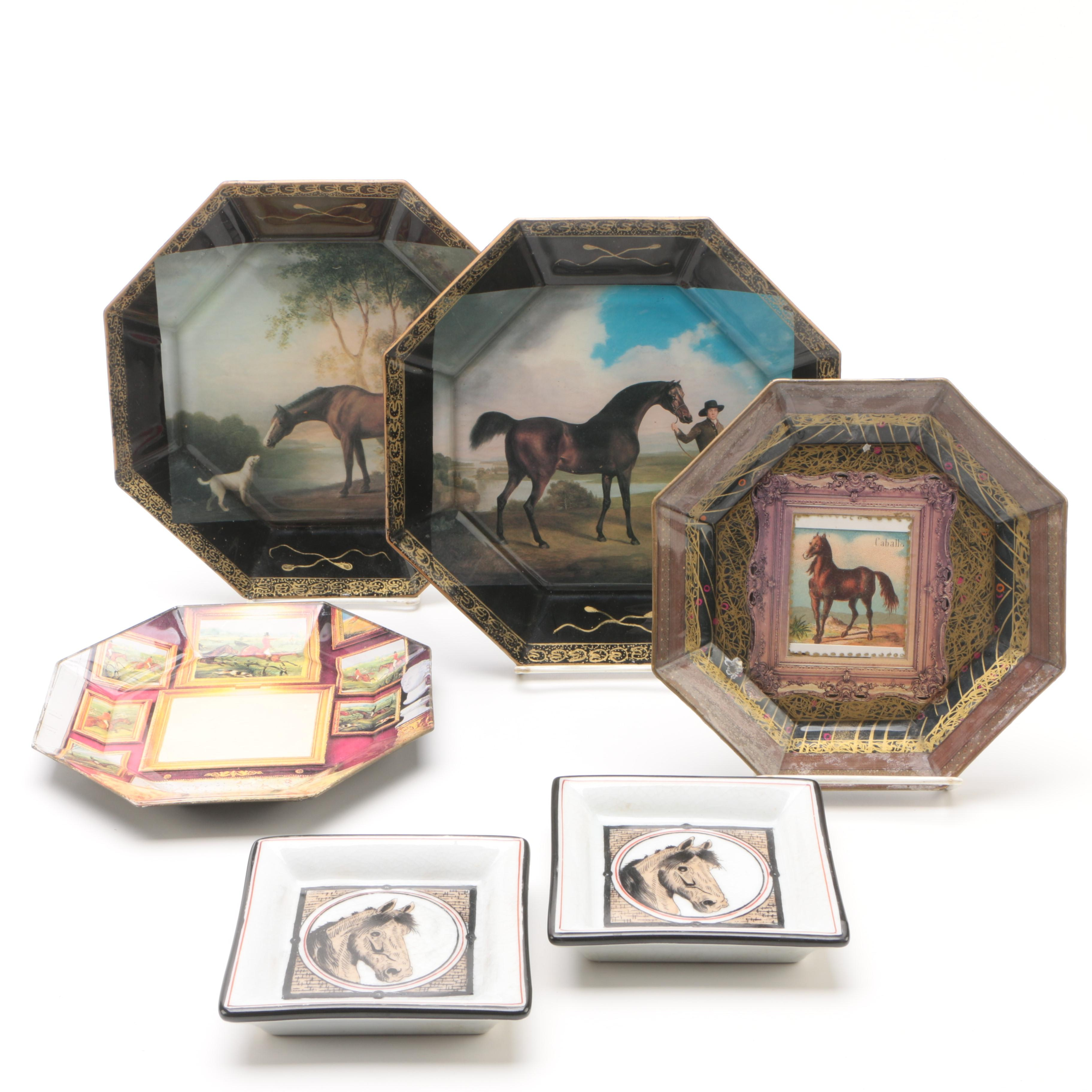 Signed Jered Holmes Decoupage Equestrian Plate with Other Plates and Dishes