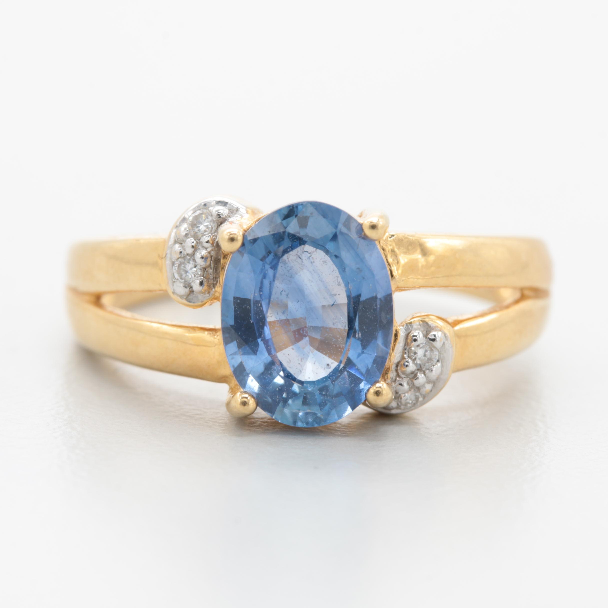 18K Yellow Gold 1.72 CT Blue Sapphire and Diamond Ring
