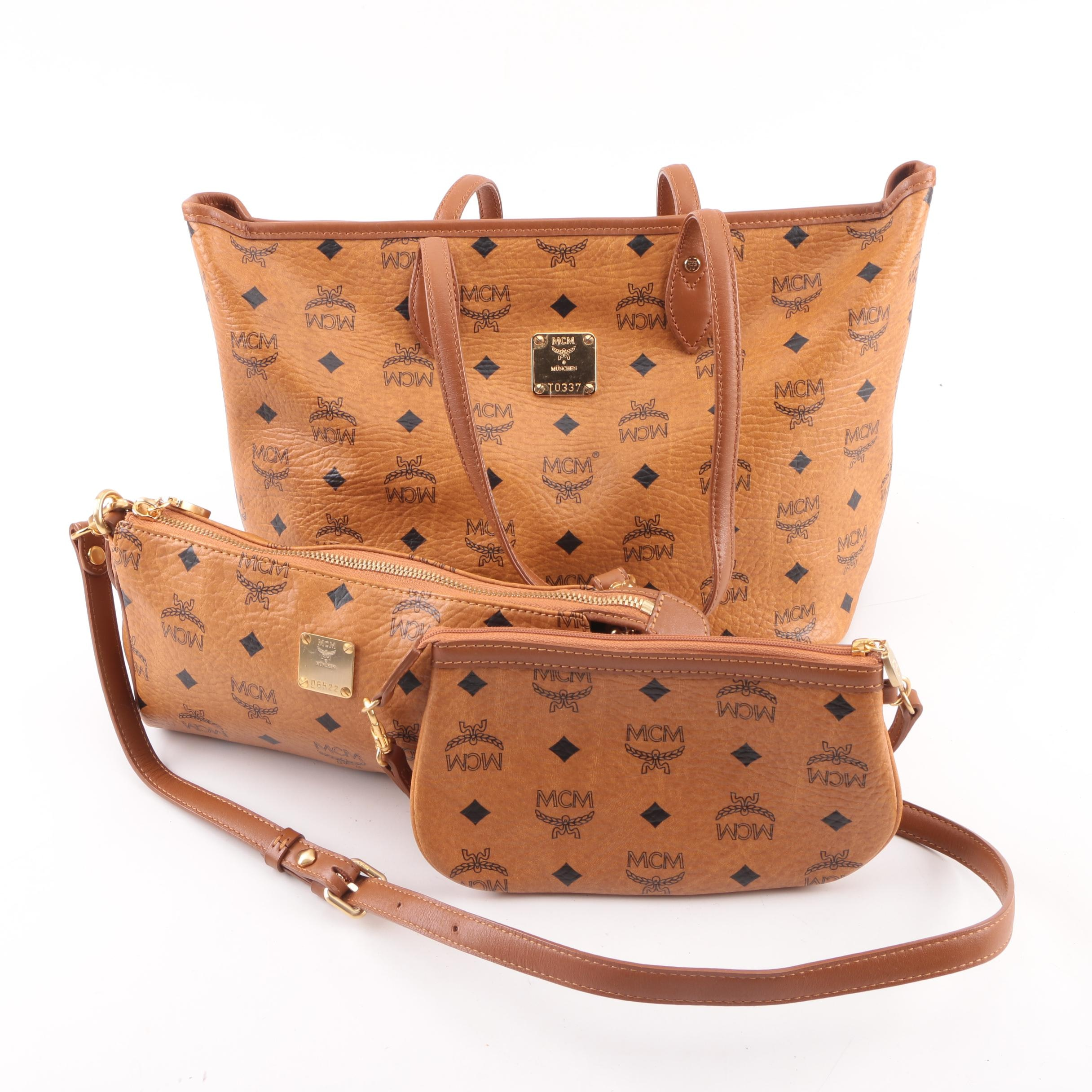 MCM Cognac Visetos Logo Print Coated Canvas Tote Bag, Shoulder Bag and Wristlet