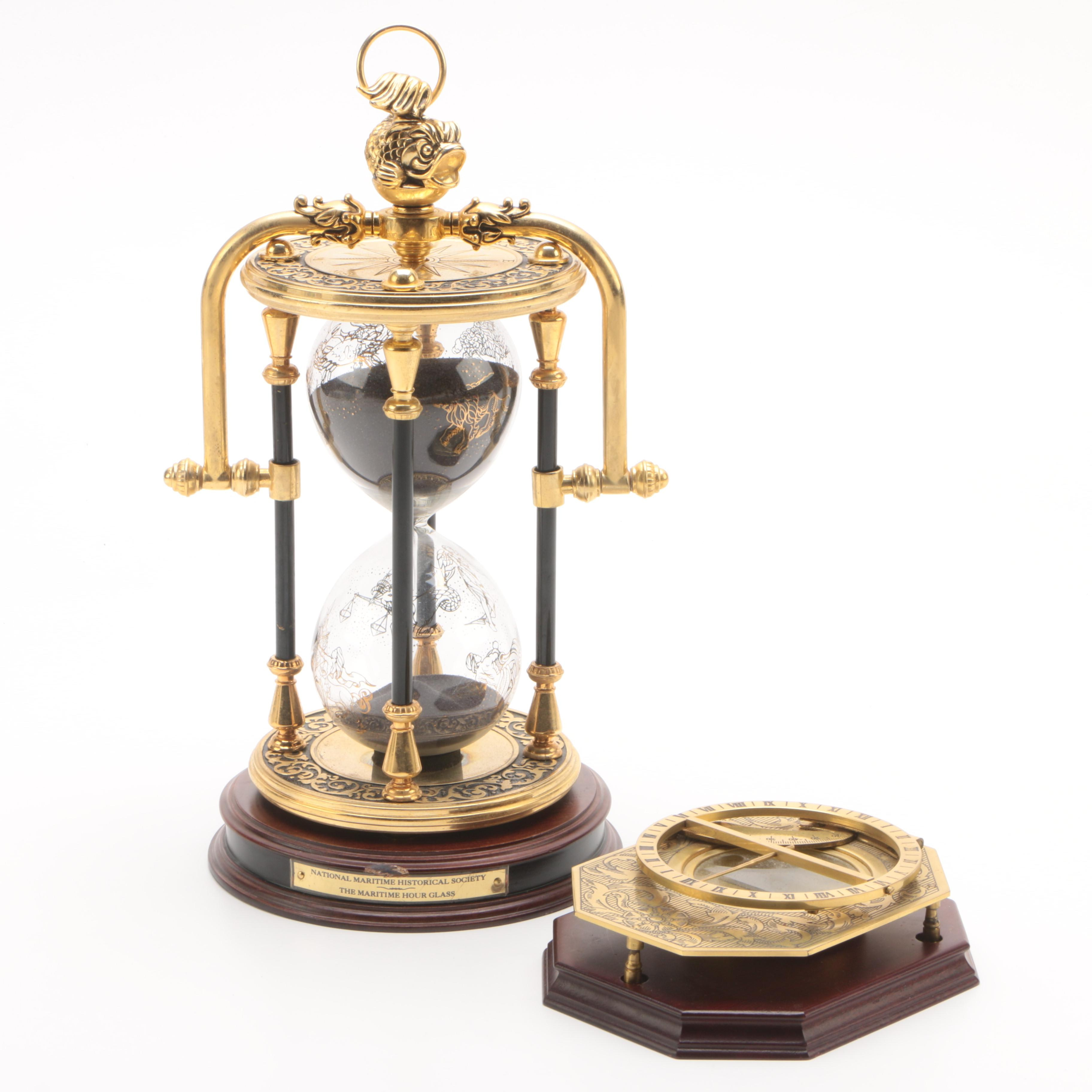 The Franklin Mint Universal Sundial and The Maritime Hour Glass