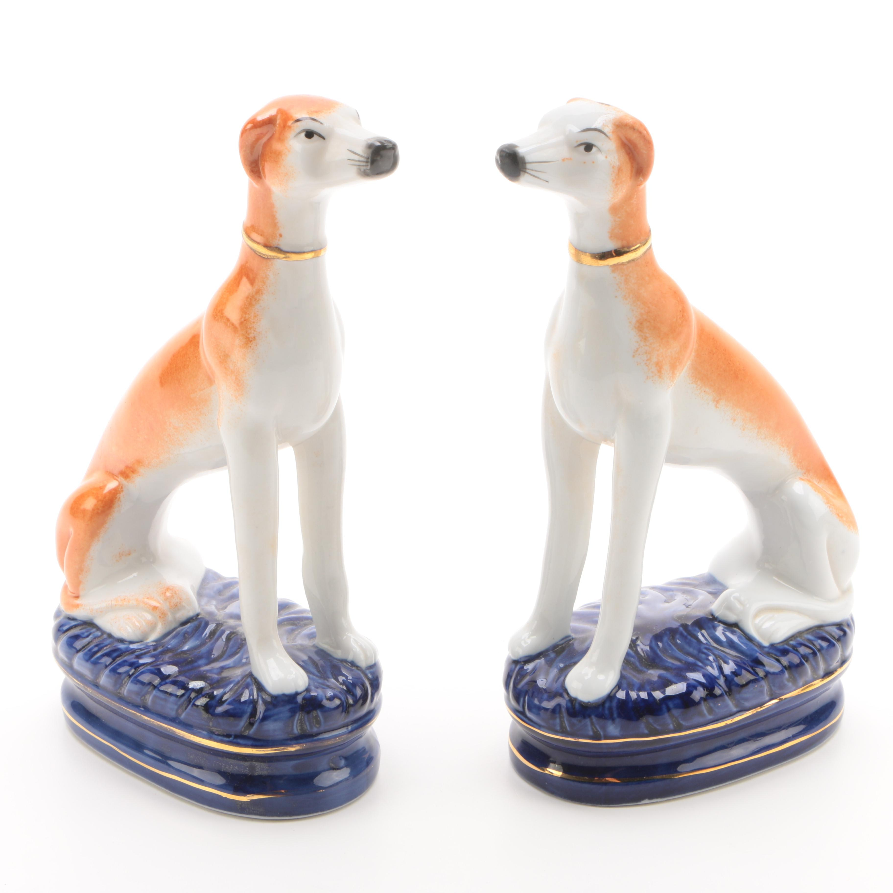 Staffordshire Style Porcelain Whippet Figurines