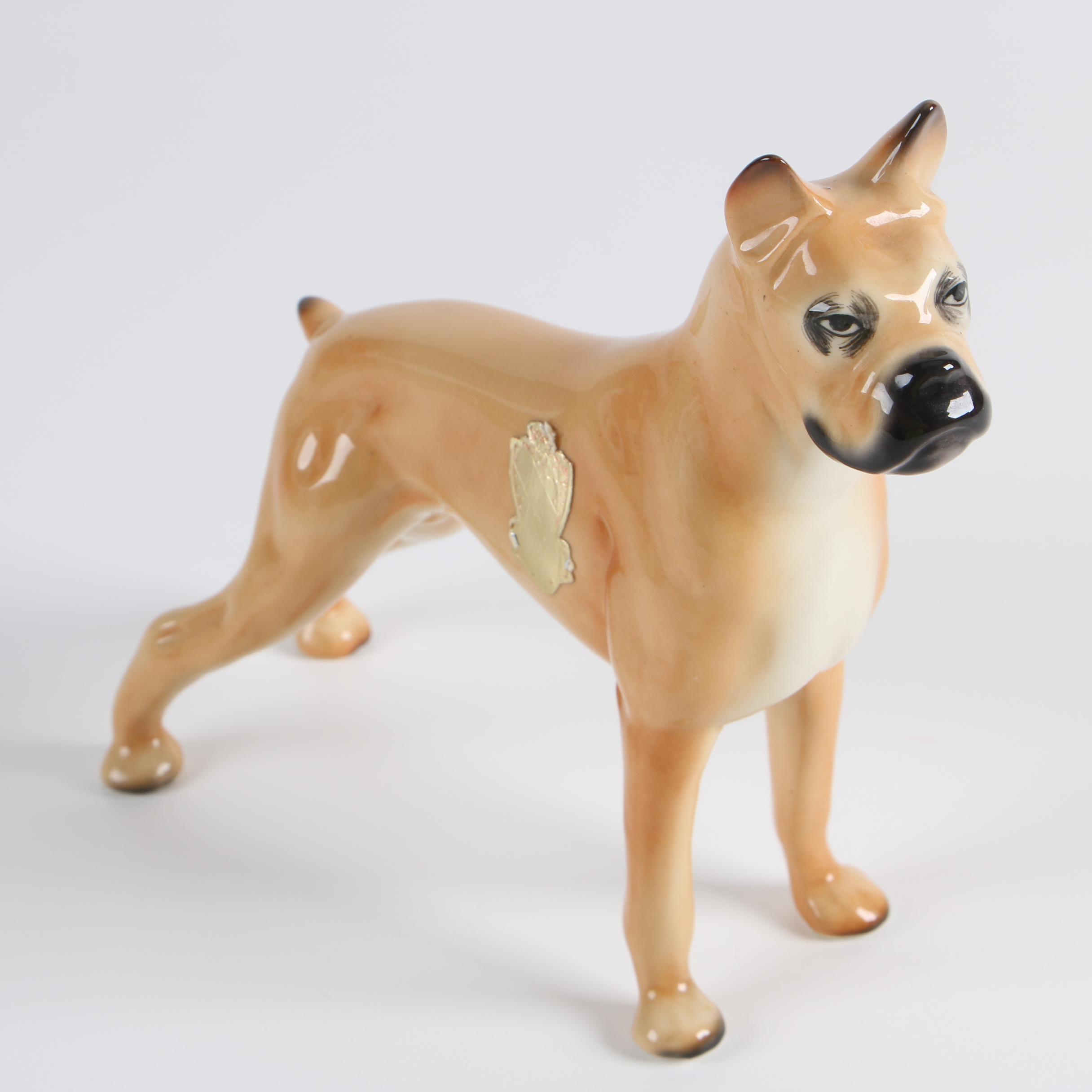Mid-Century Boxer Dog Porcelain Figurine