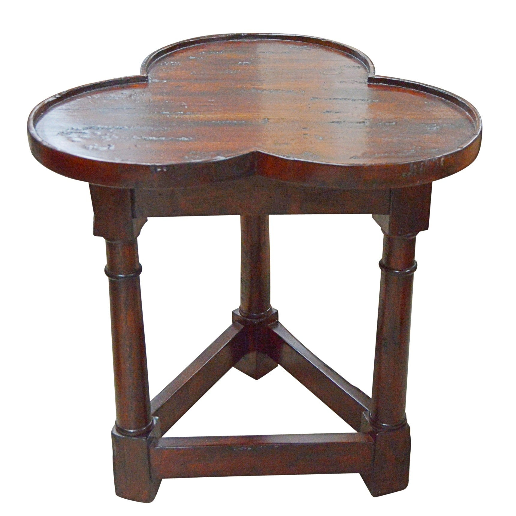 Neoclassical Style Mahogany Trefoil Side Table