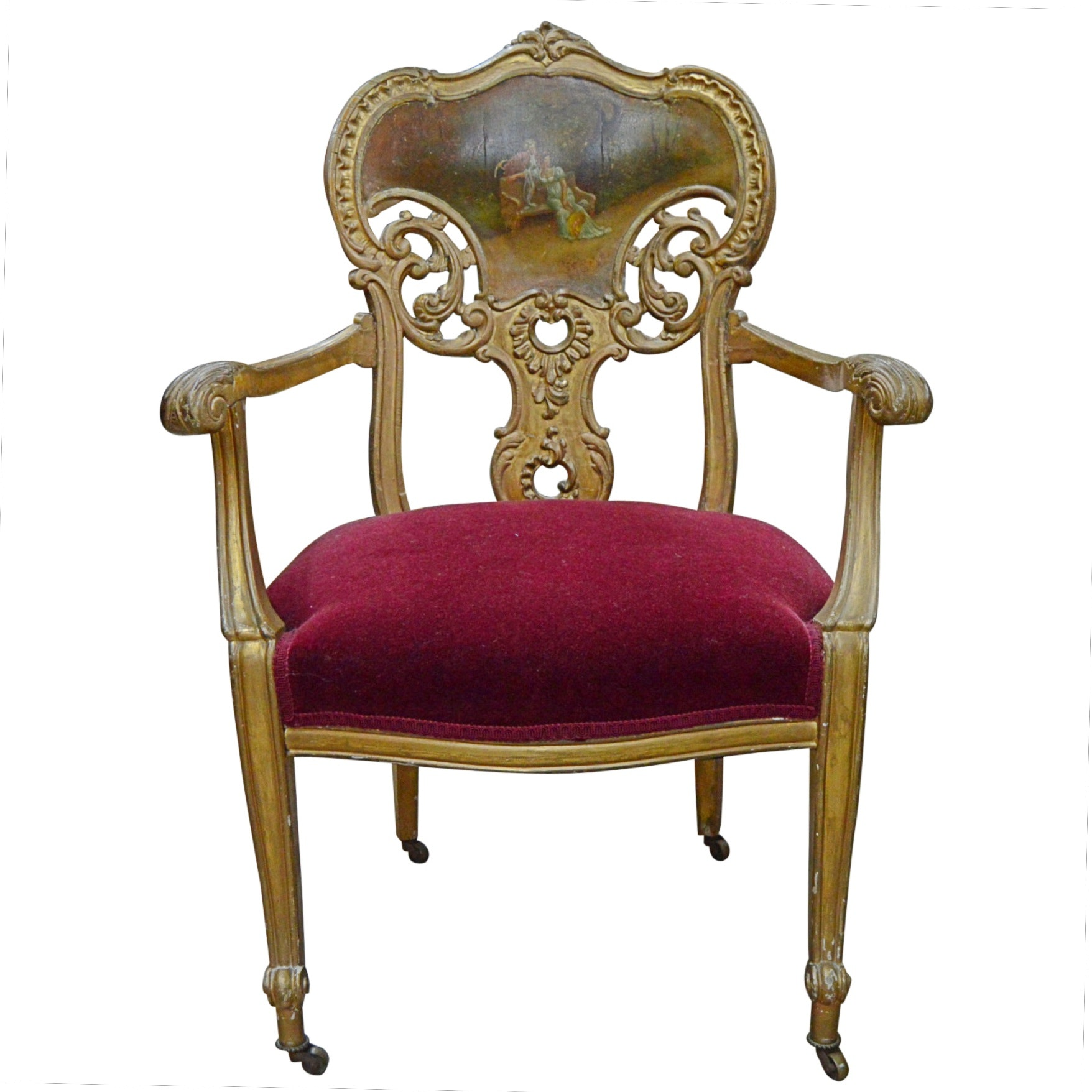 Vintage Louis XV Style Giltwood Chair