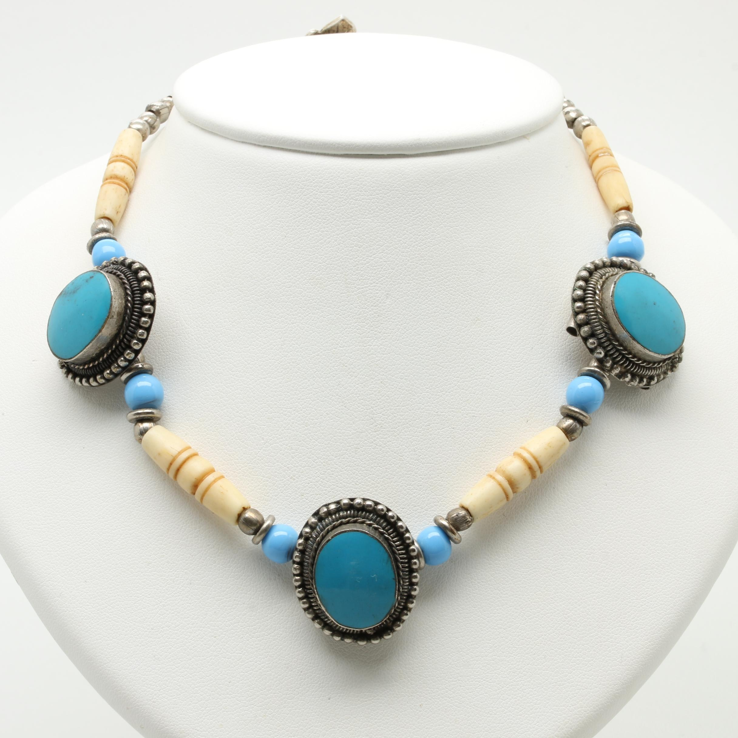 Bone, Imitation Turquoise and Glass Necklace with Sterling Silver Clasp