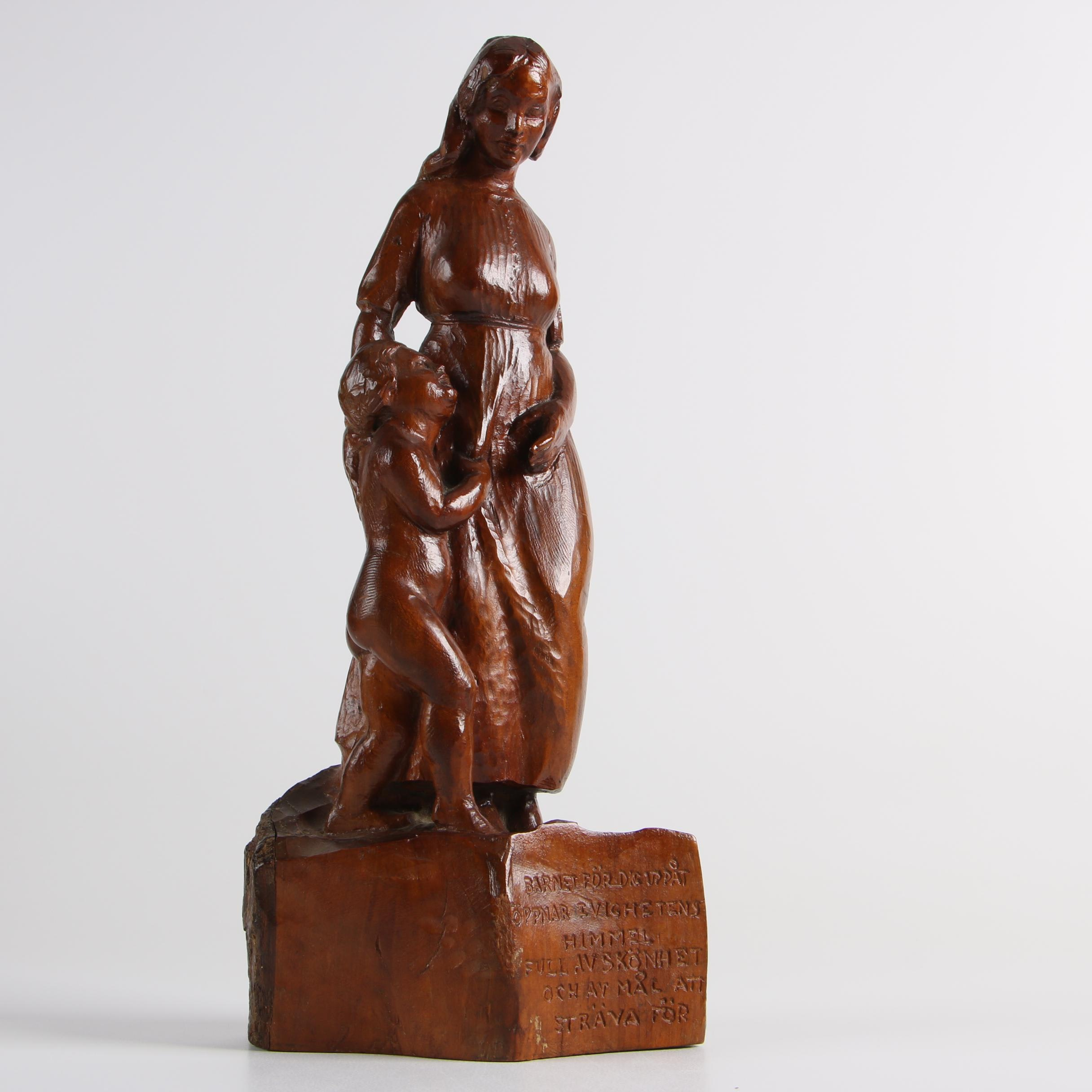 N. Arthur Sandin 1938 Mother and Child Wooden Carving with Inscription