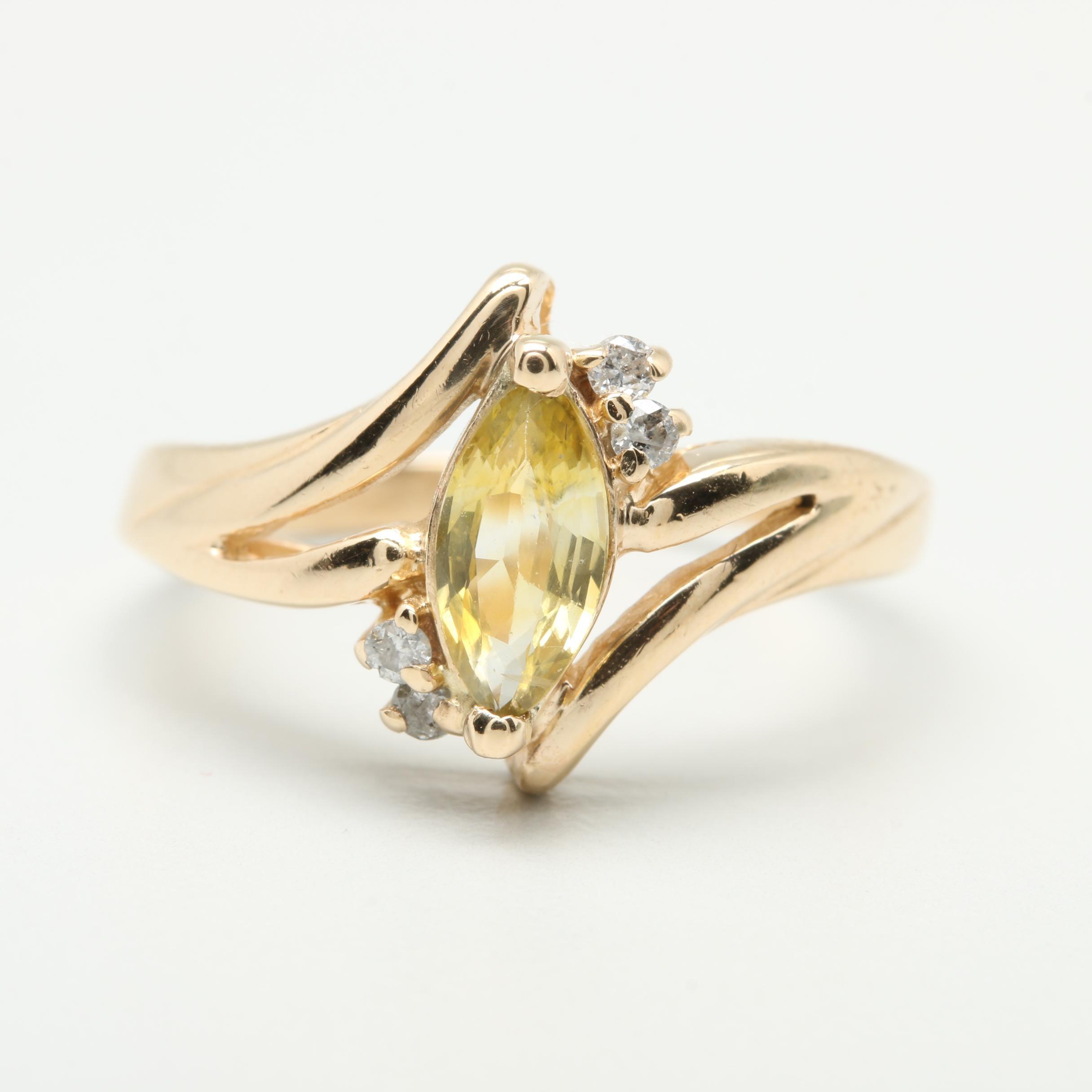 14K Yellow Gold Yellow Sapphire and Diamond Ring