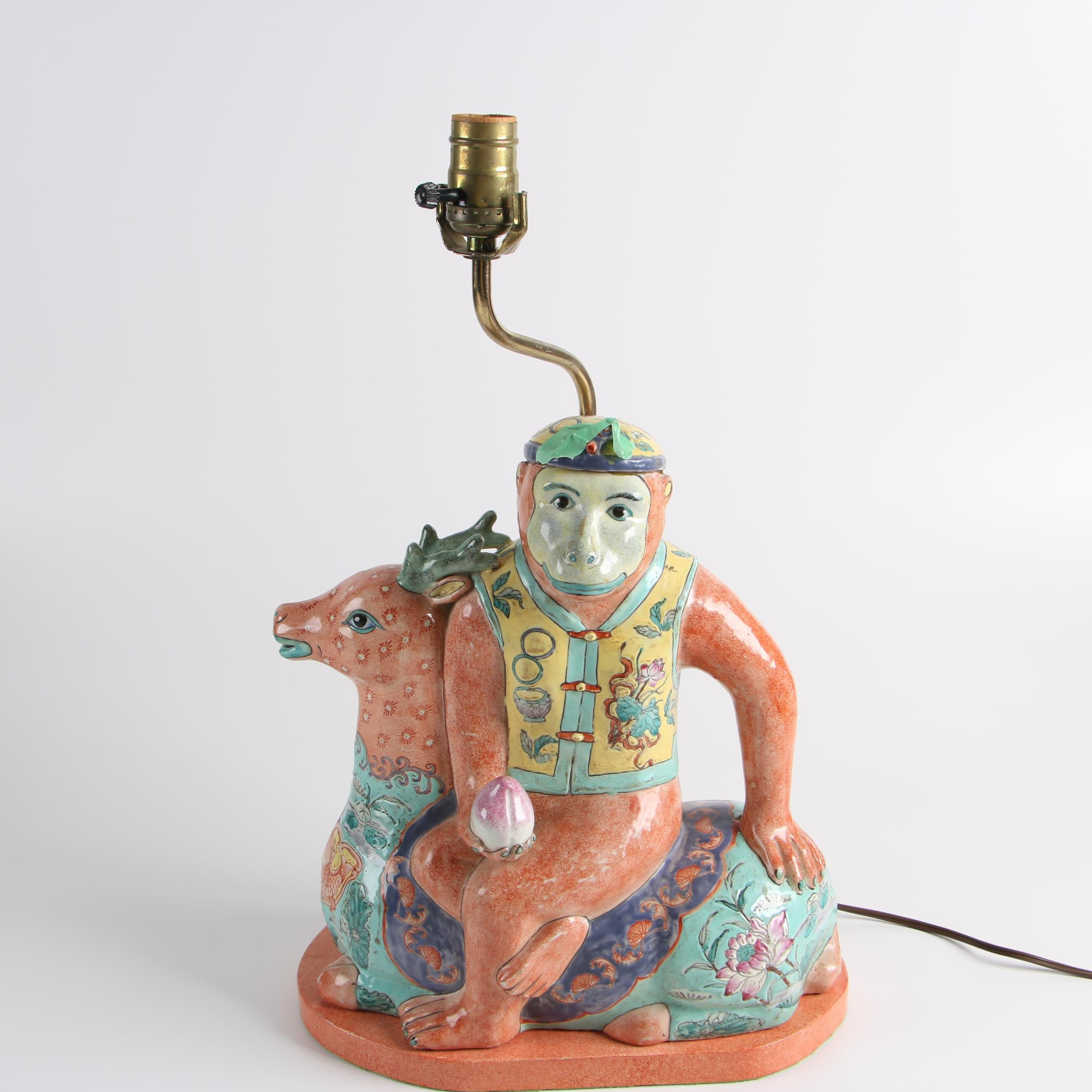 Chinese Porcelain Monkey and Deer Table Lamp