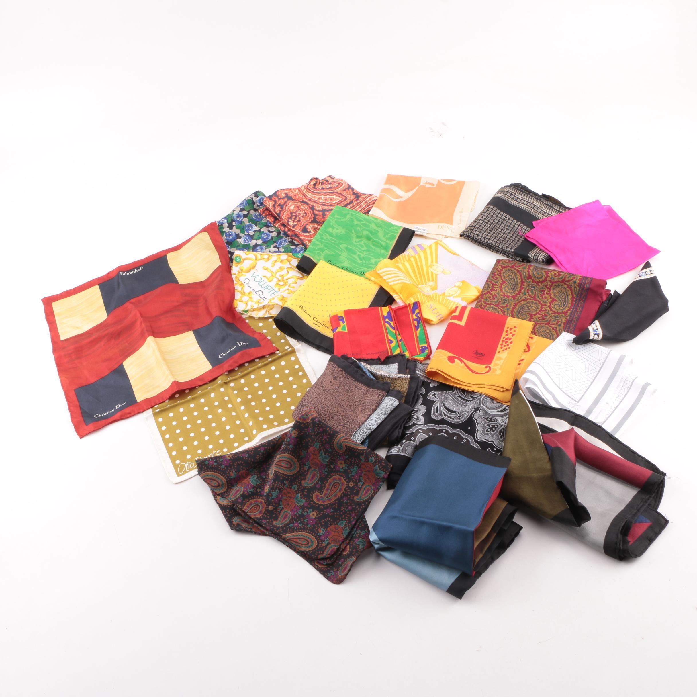 Christian Dior, Oscar de la Renta and Other Handkerchiefs and Pocket Squares