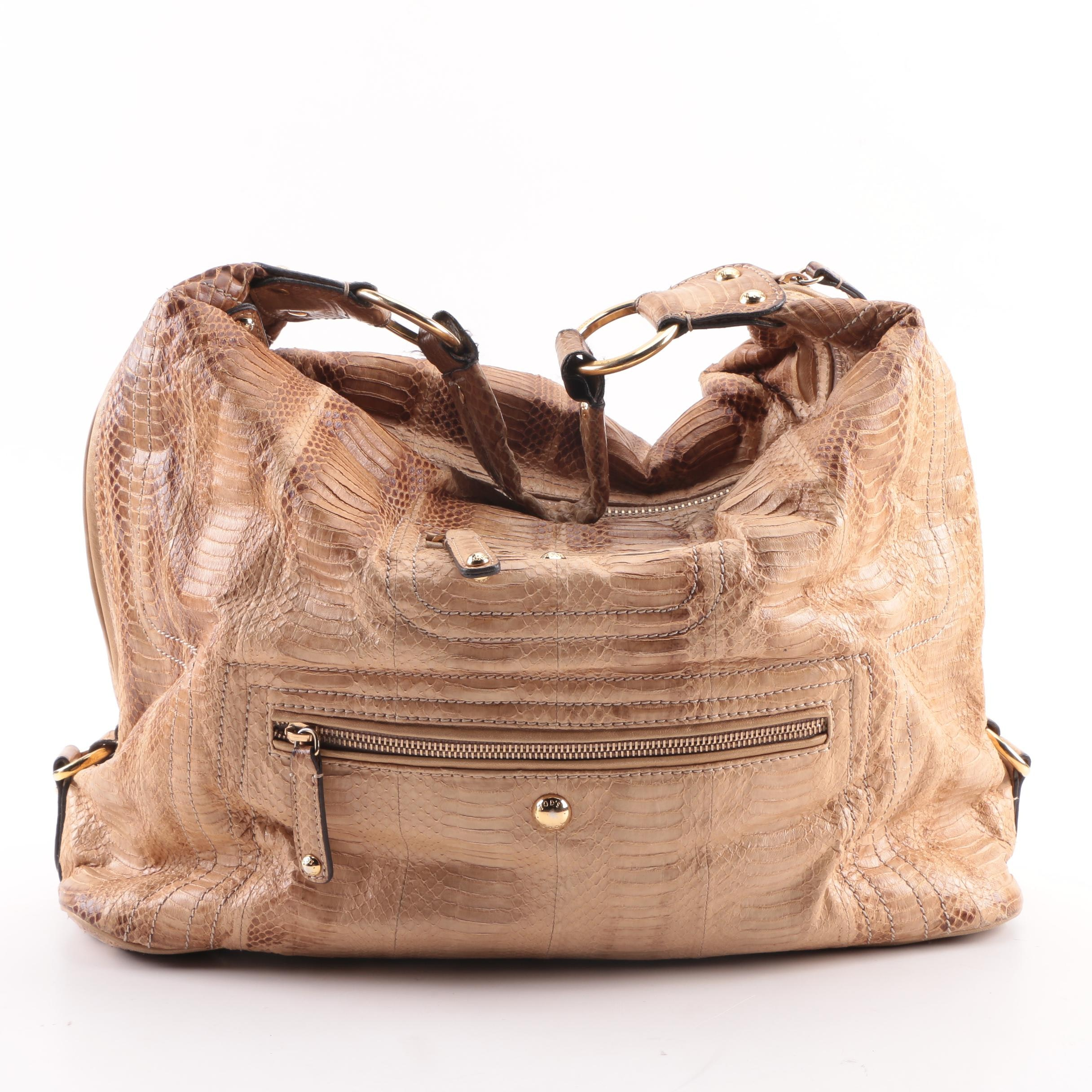 Tod's Tan Snakeskin Hobo Bag