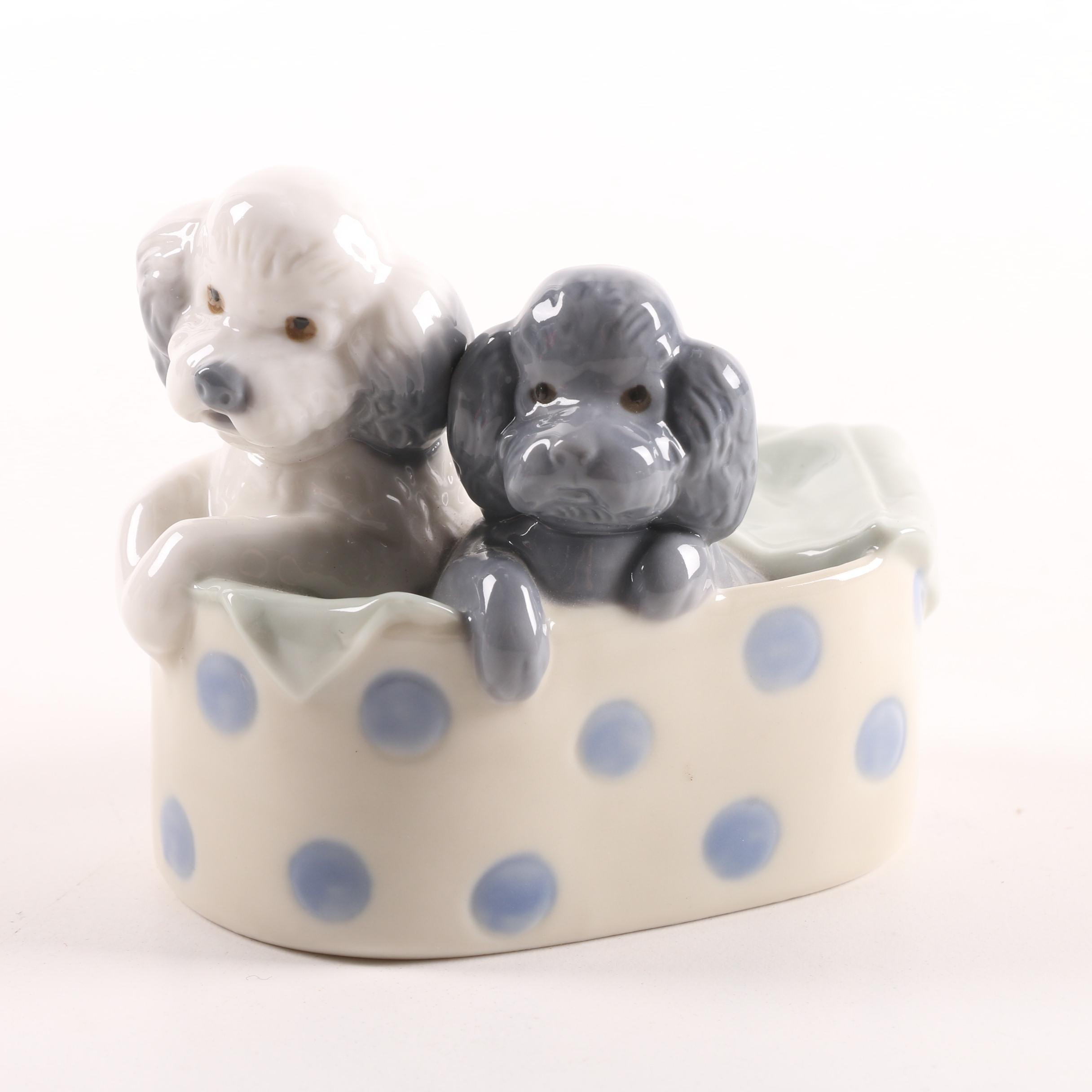 "1988 NAO Lladró ""Puppies in a Basket"" Figurine"