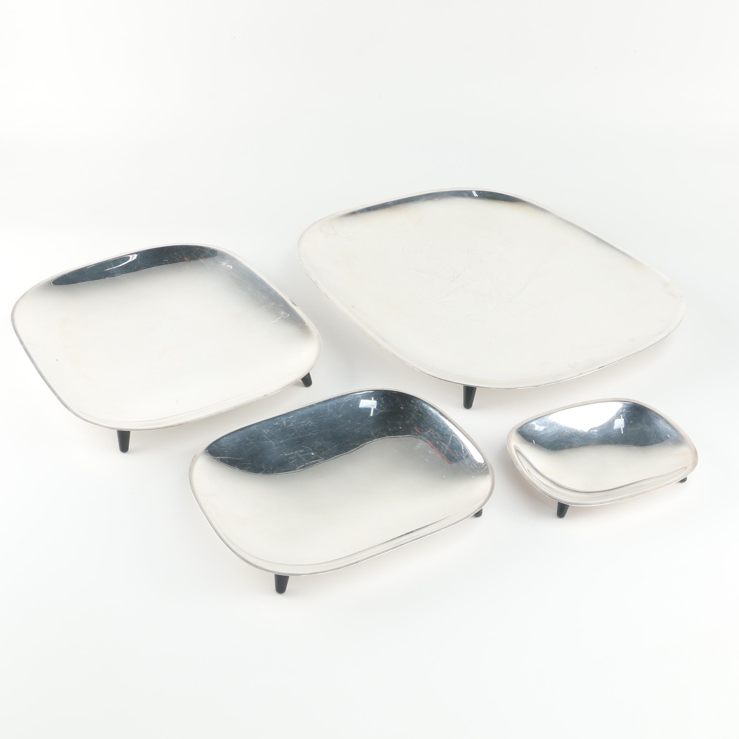 F.B. Rogers Silver Co. Modernist Style Four-Piece Silver Plate Tray Set
