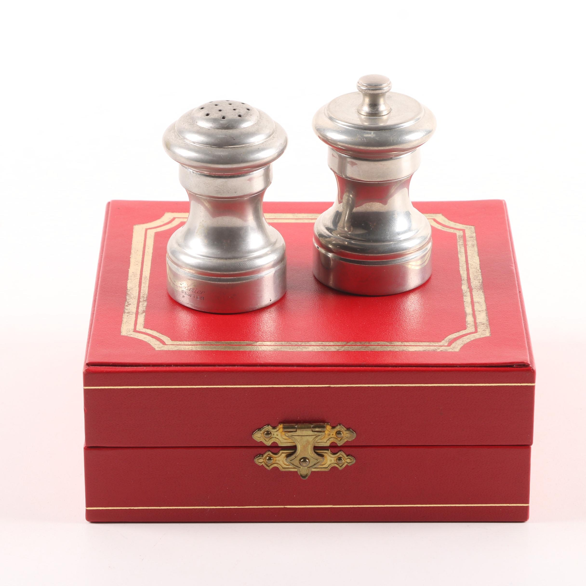 Cartier Pewter Salt Shaker and Pepper Mill