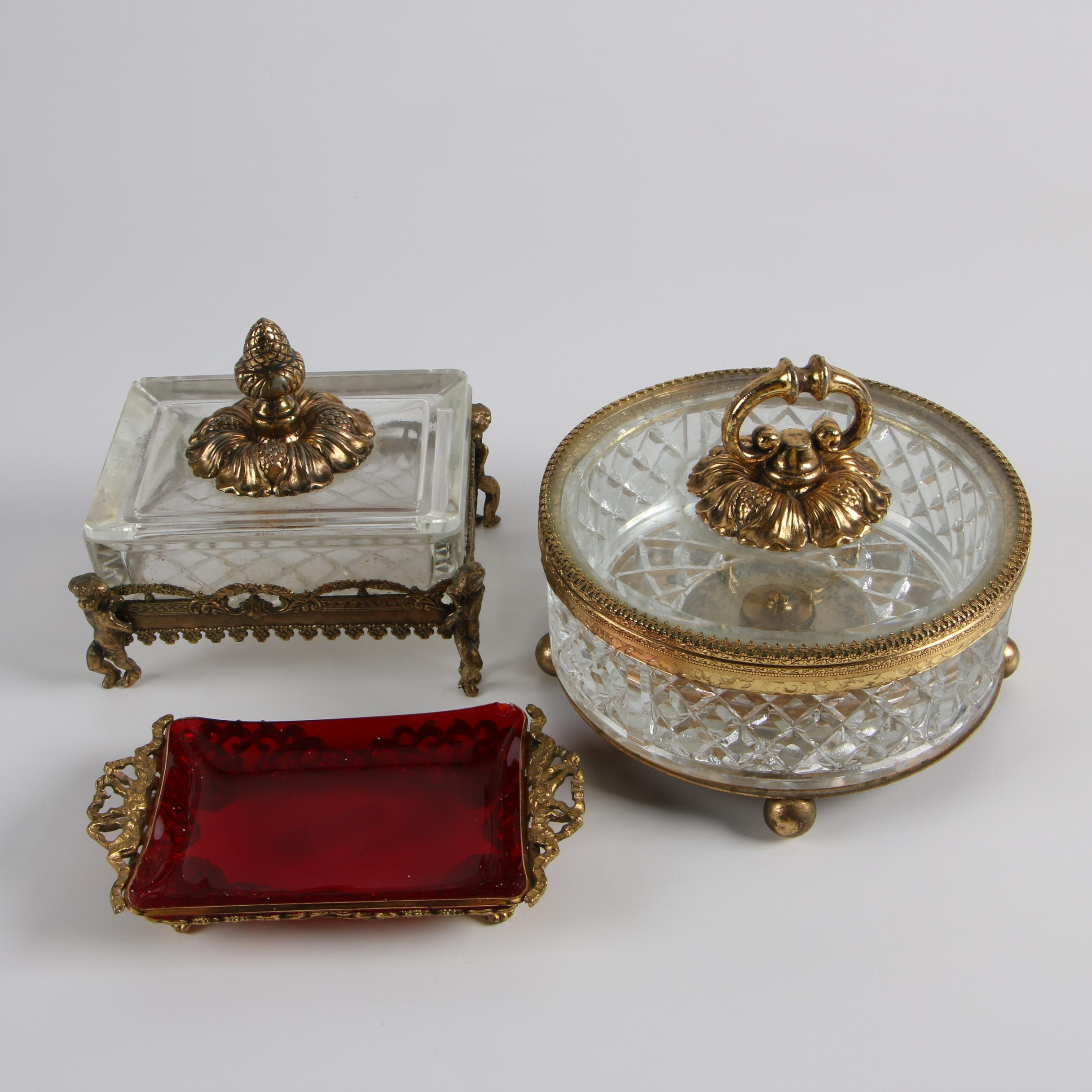 Hollywood Regency Style Glass and Metal Vanity Boxes and Soap Dish