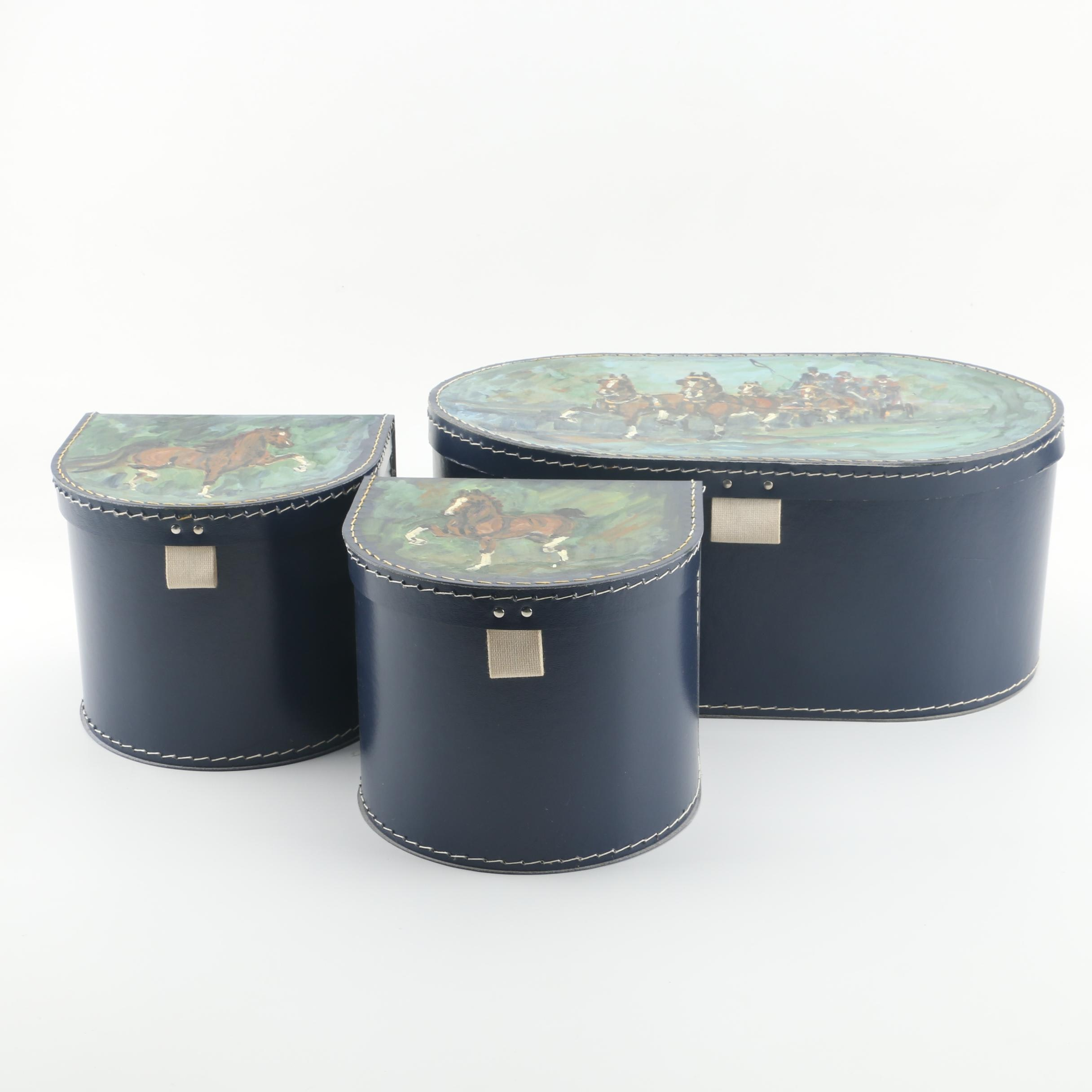 Hand-Painted Faux Leather Nesting Boxes