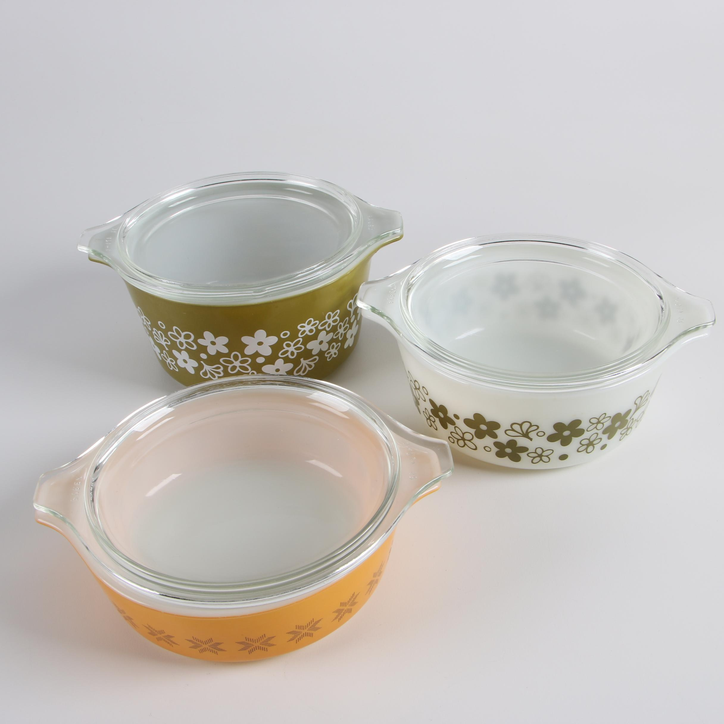 """Pyrex """"Spring Blossom"""" and """"Town and Country"""" Lidded Casseroles , c. 1963-79"""