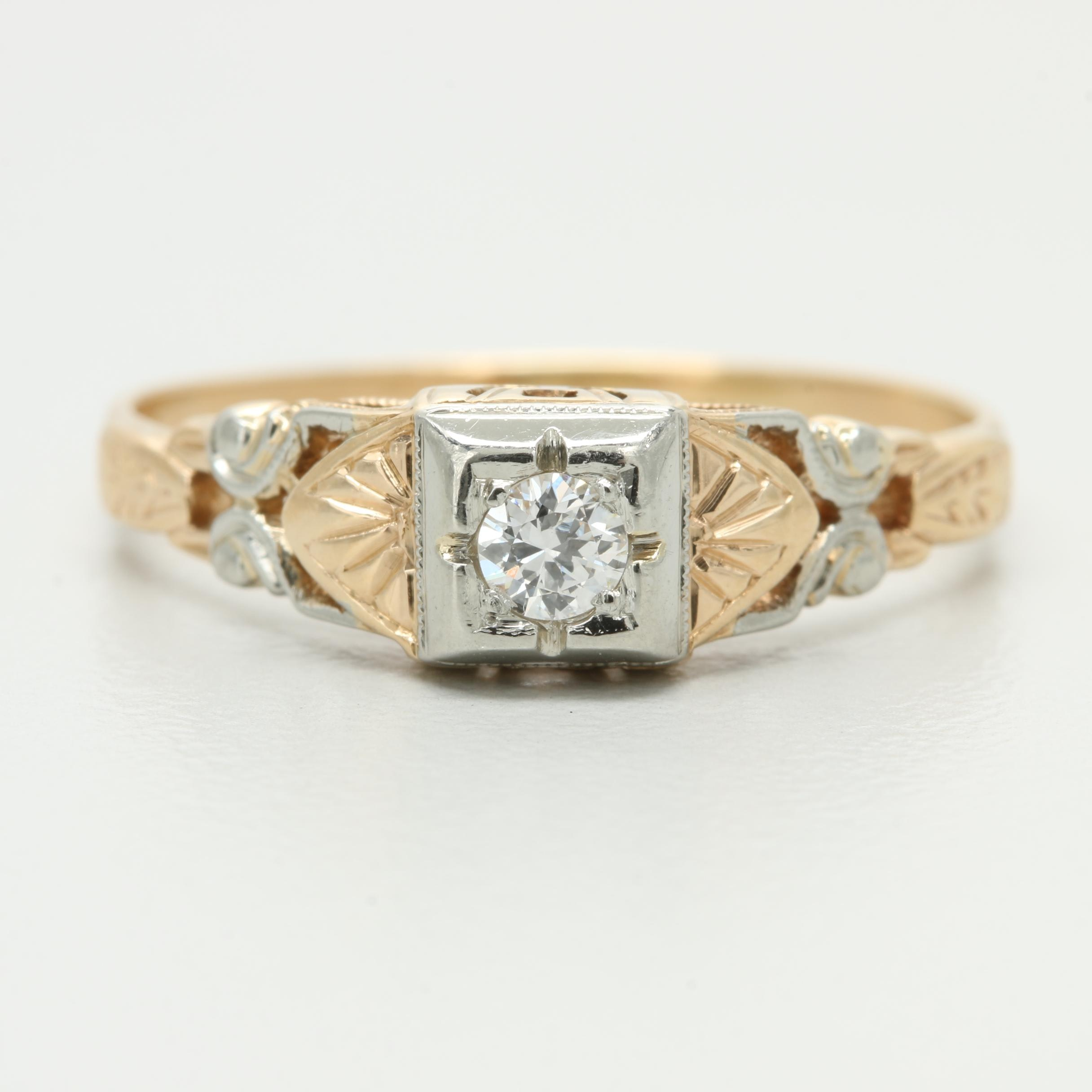 Art Deco 14K Yellow Gold Diamond Ring with White Gold Accents