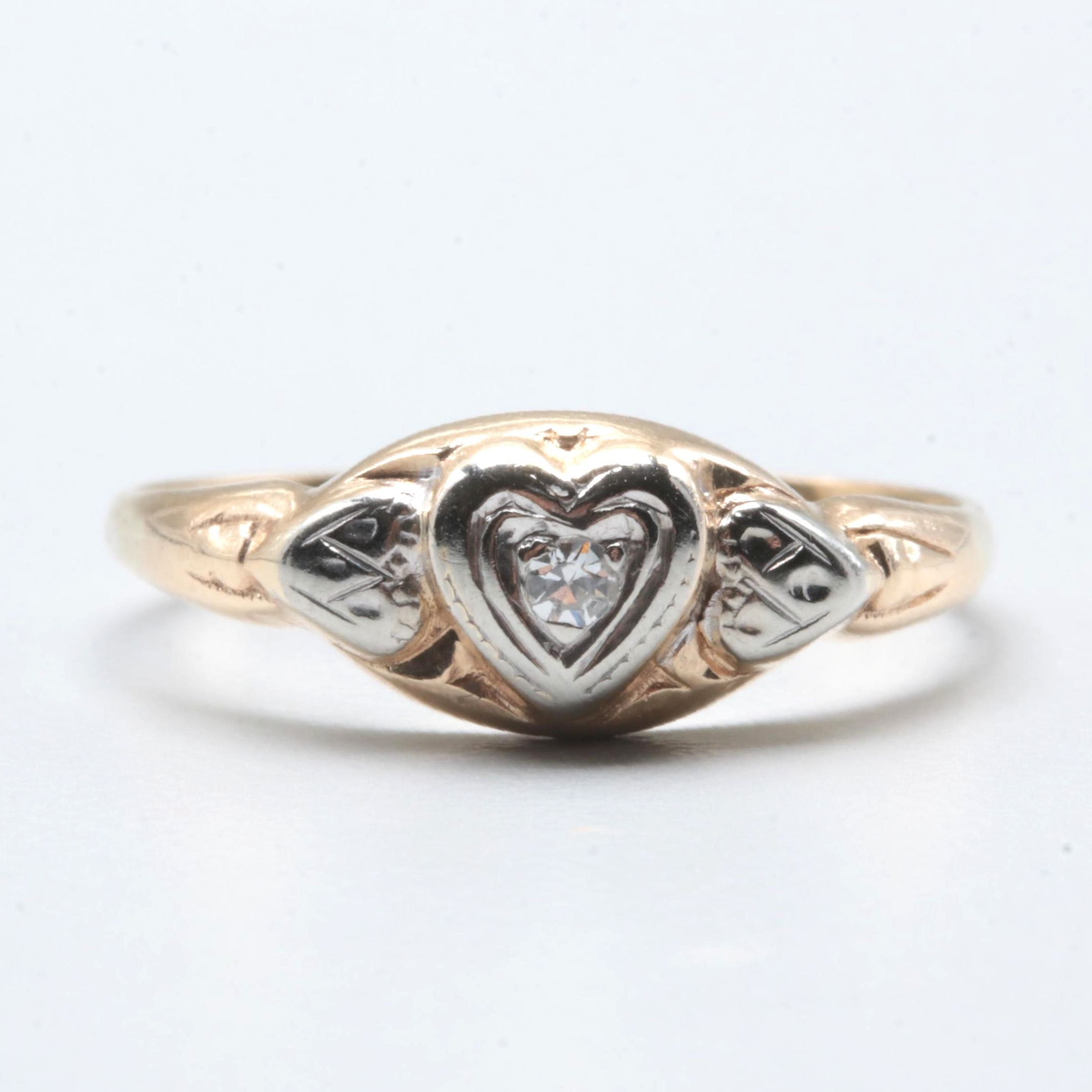 14K Yellow Gold Diamond Heart Ring with White Gold Accents