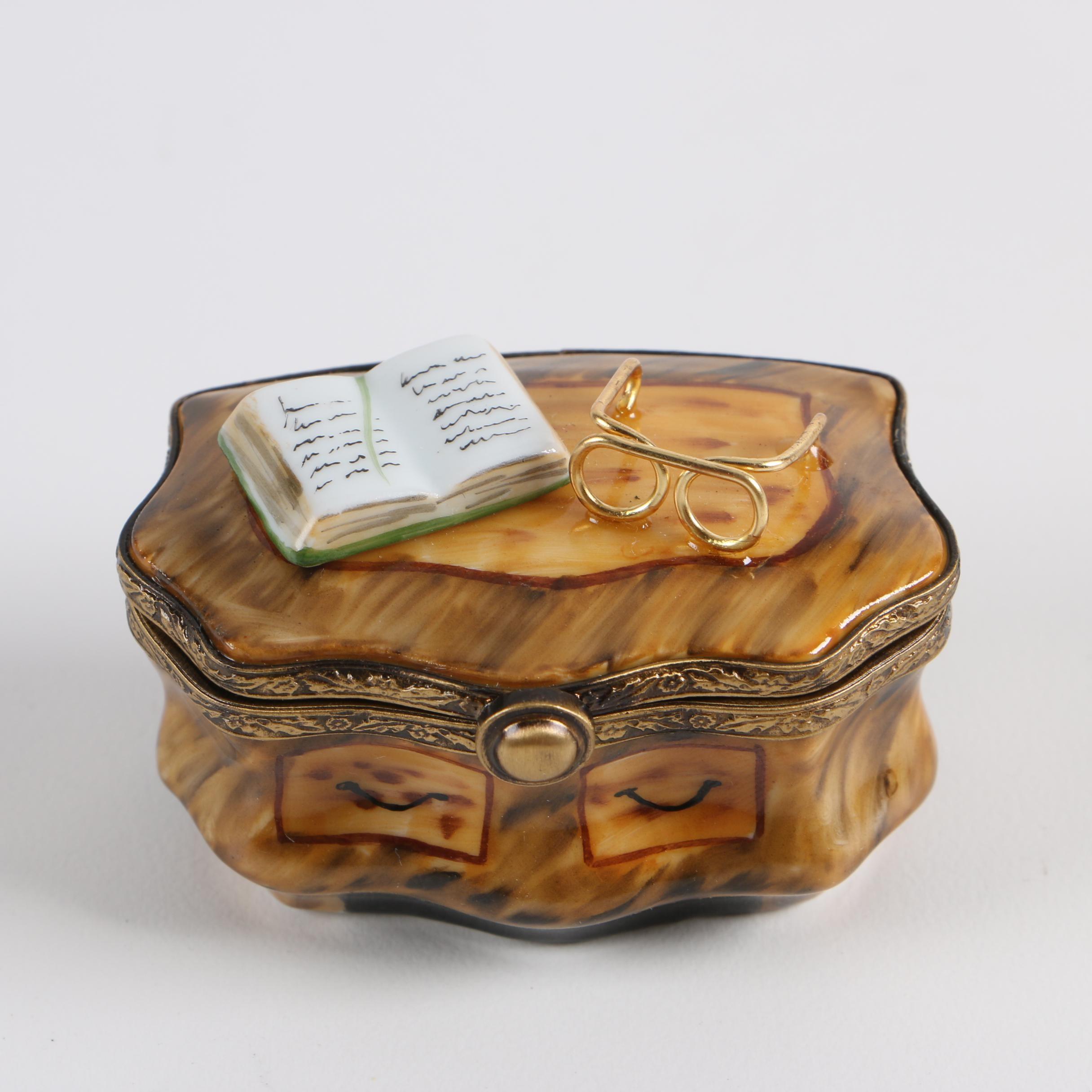 Pierre Arquie Limoges Hand-Painted Reading Desk Porcelain Trinket Box