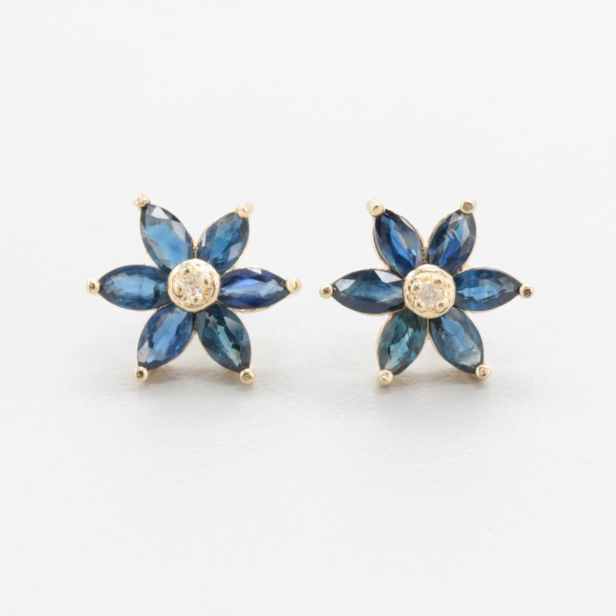 14k yellow gold diamond and sapphire flower earrings ebth 14k yellow gold diamond and sapphire flower earrings mightylinksfo