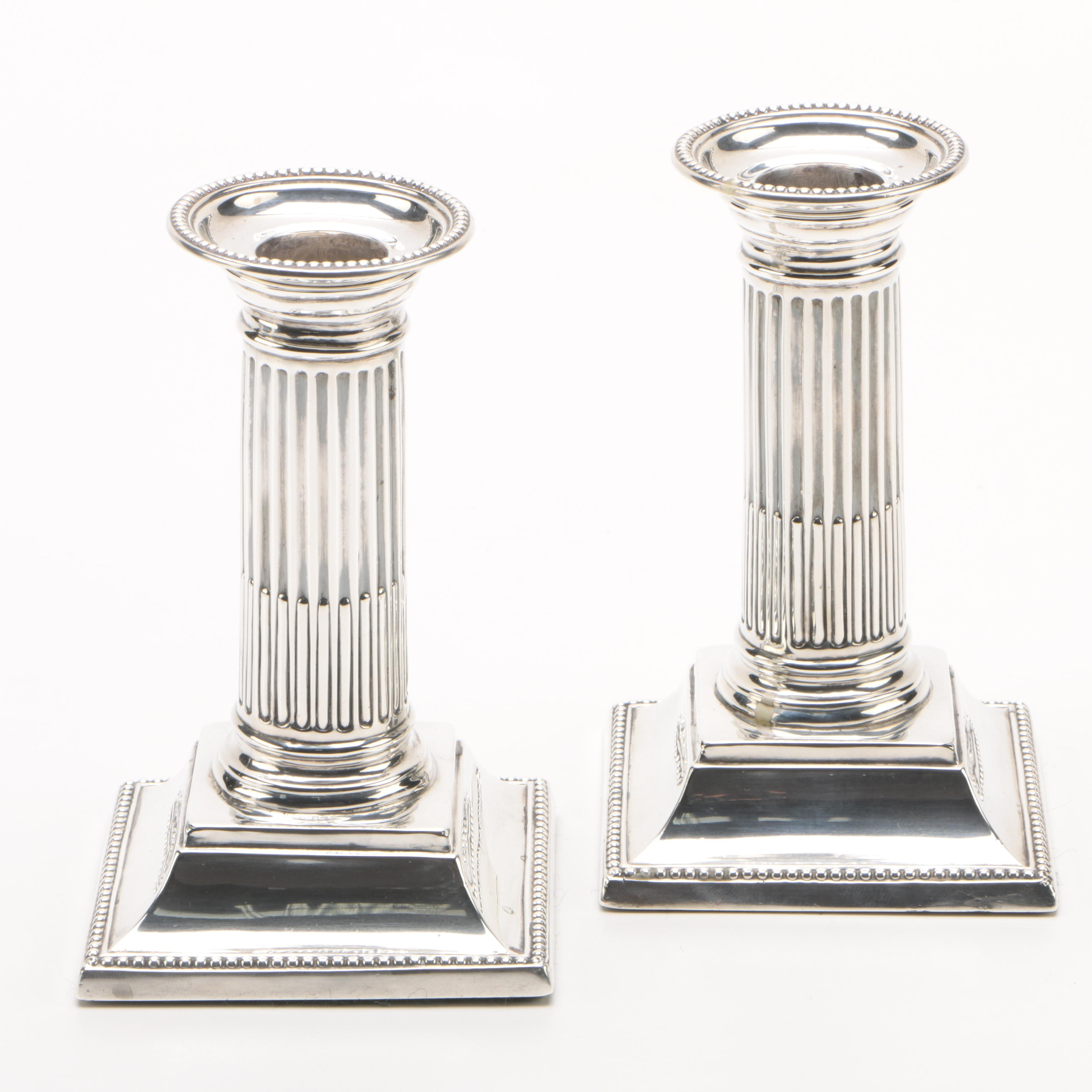 1876 Harrison Brothers & Howson English Weighted Sterling Candlesticks