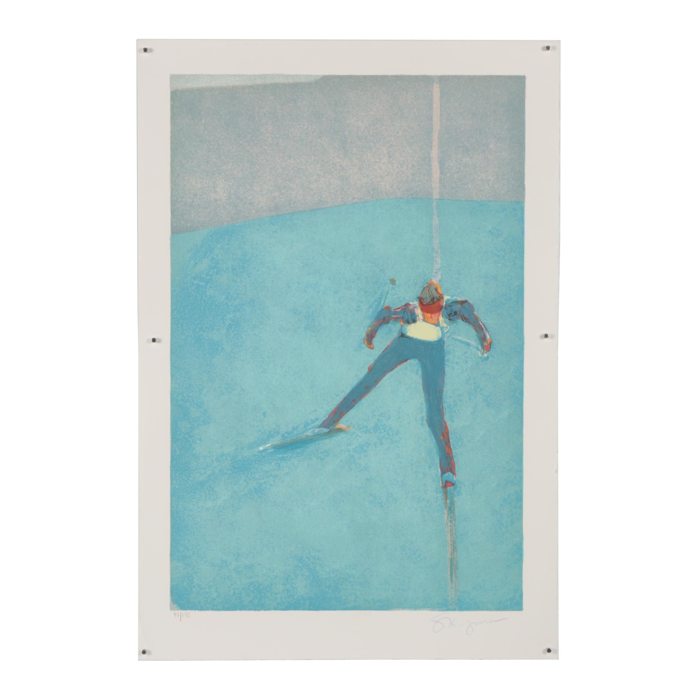 """Stephen Kuzma Color Lithograph """"Downhill Skiing"""""""